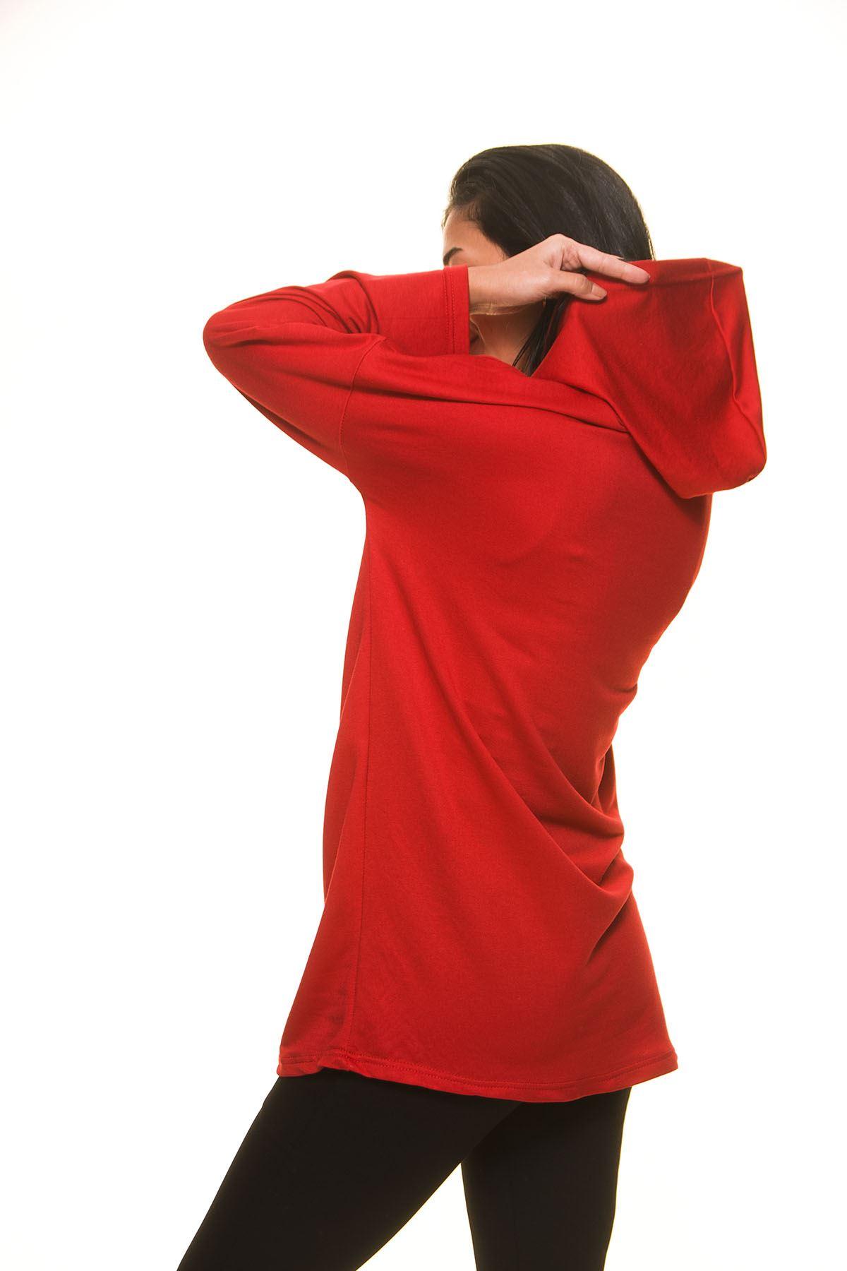 Kırmızı Kapşonlu Sweat 5F-1131