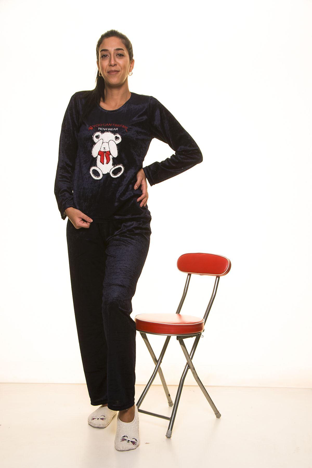 Lacivert Kadife Pijama Takımı 12E-2001