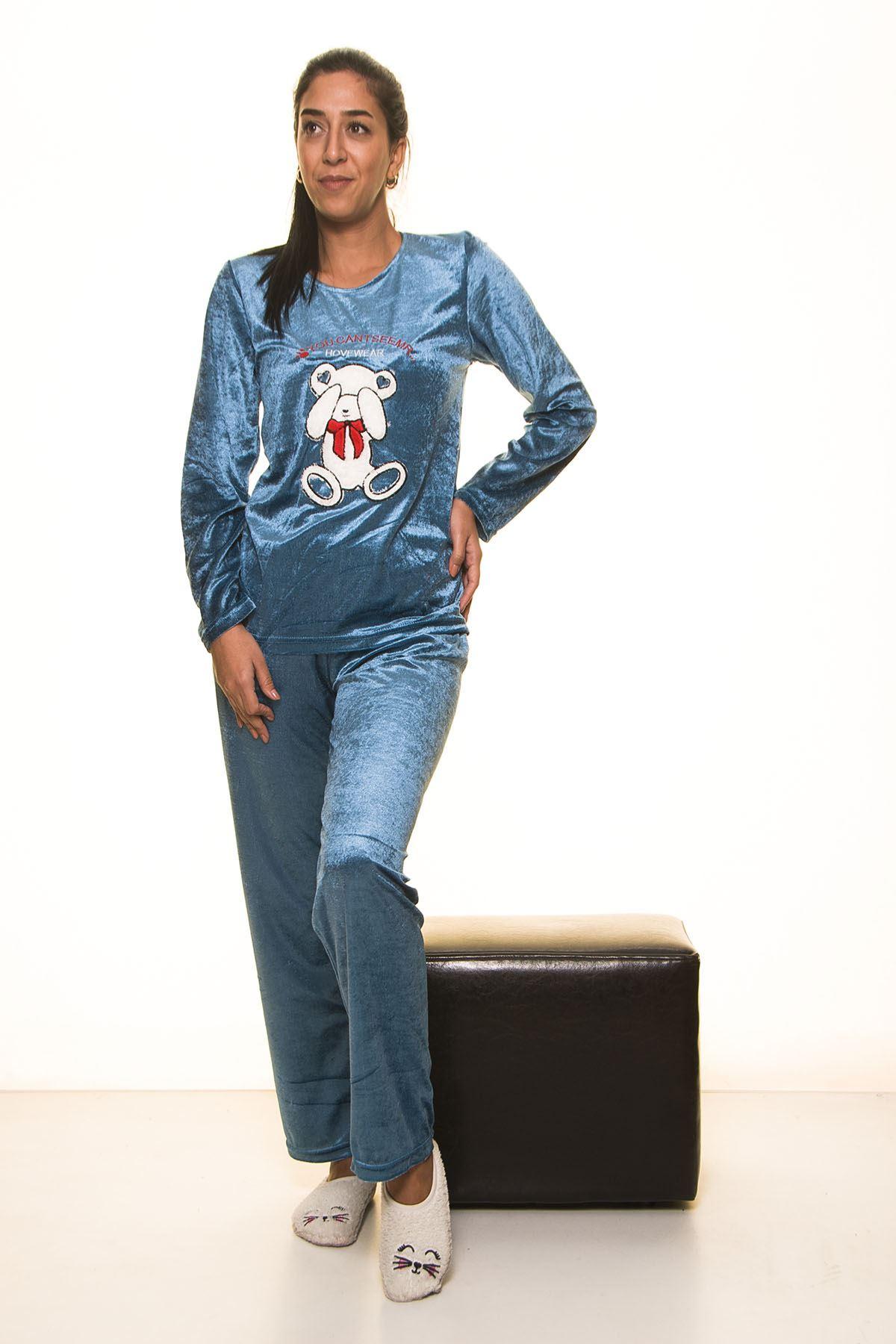 Mavi Kadife Pijama Takımı 12E-2002