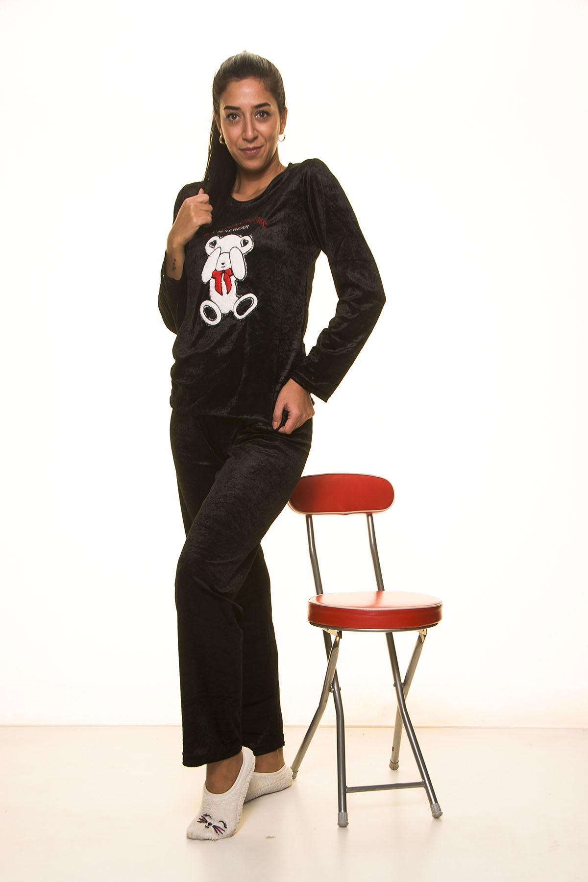 Siyah Kadife Pijama Takımı 12E-2003