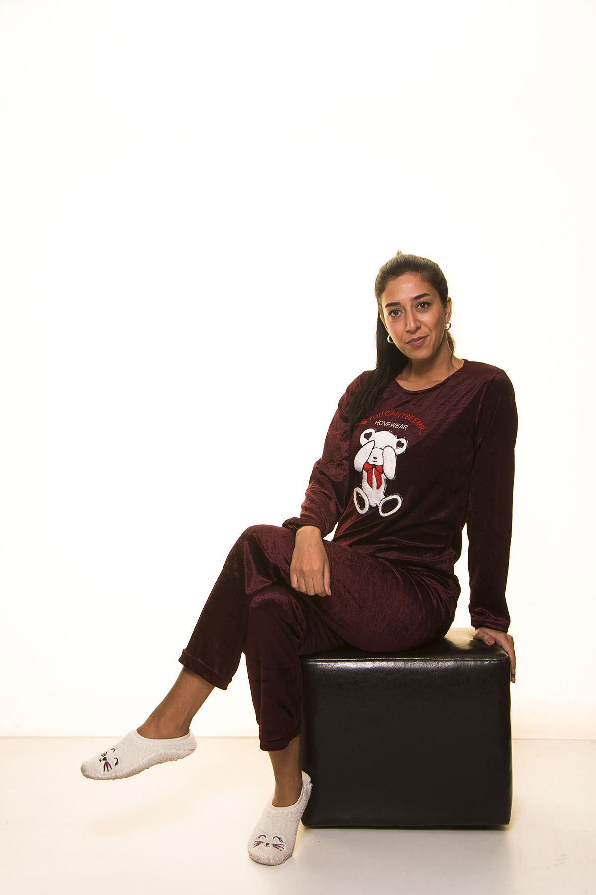 Bordo Kadife Pijama Takımı 12E-2004