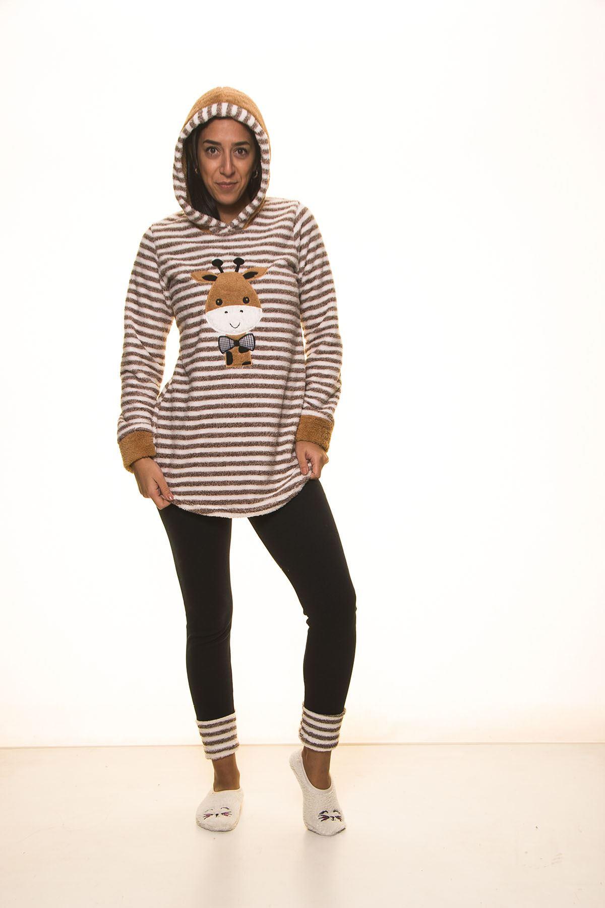 Kahverengi Çizgili Kapşonlu Kışlık Polar Takımı 12E-2009