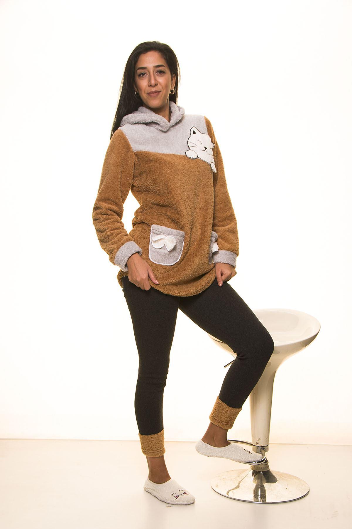 Kahverengi Gri Kapüşonlu Polar Takımı 12D-2016