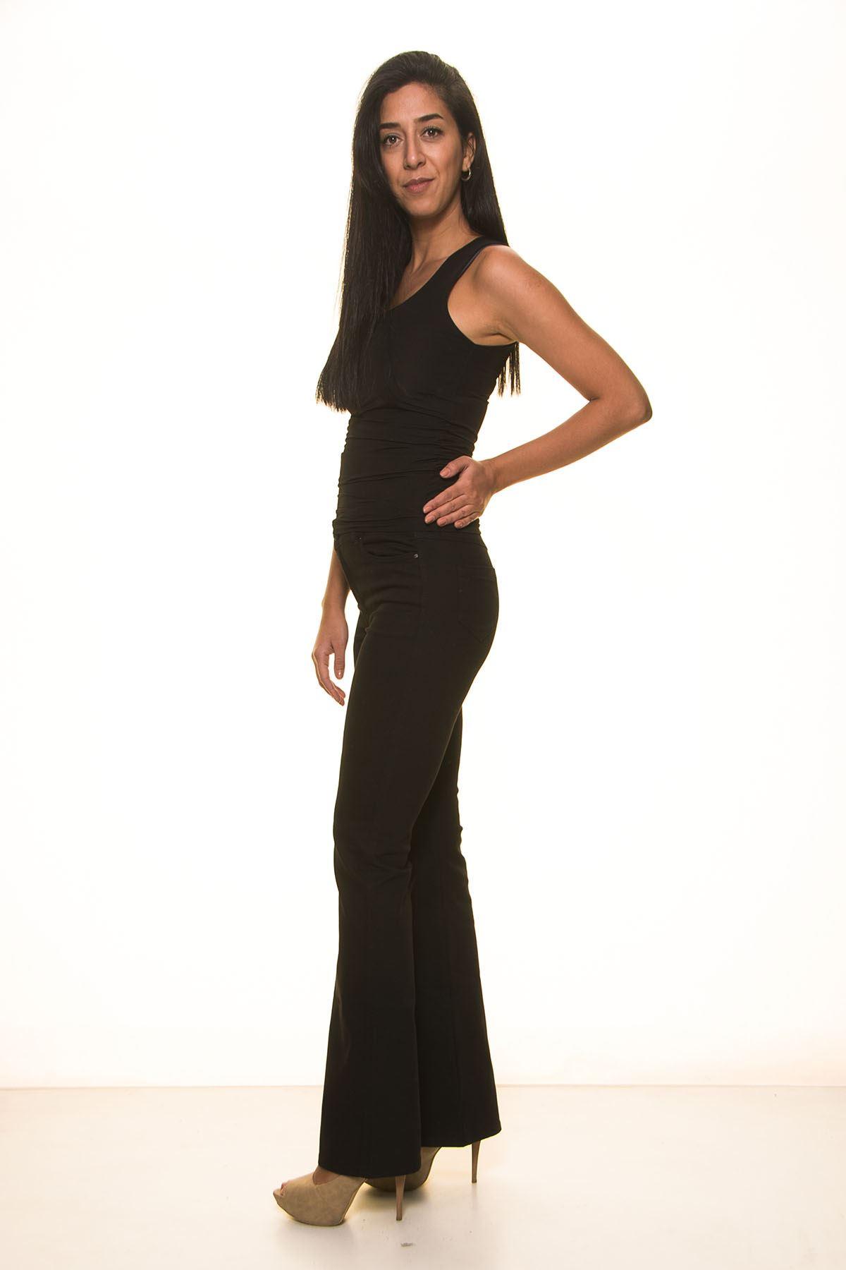 Kadın İspanyol Paça Siyah Pantolon 30Y-1068S