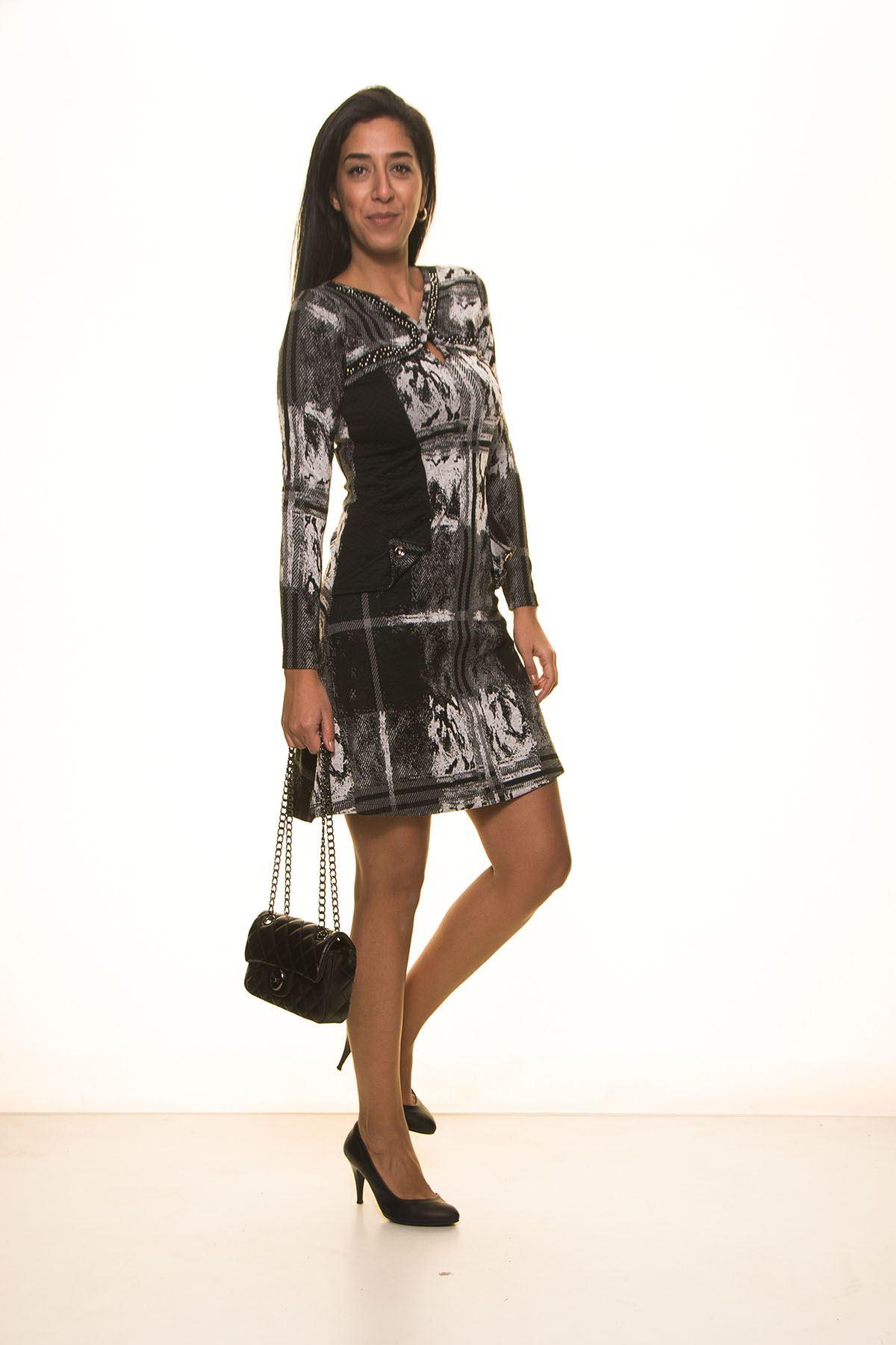 Siyah Gri Yakası Taşlı Elbise K7-2030