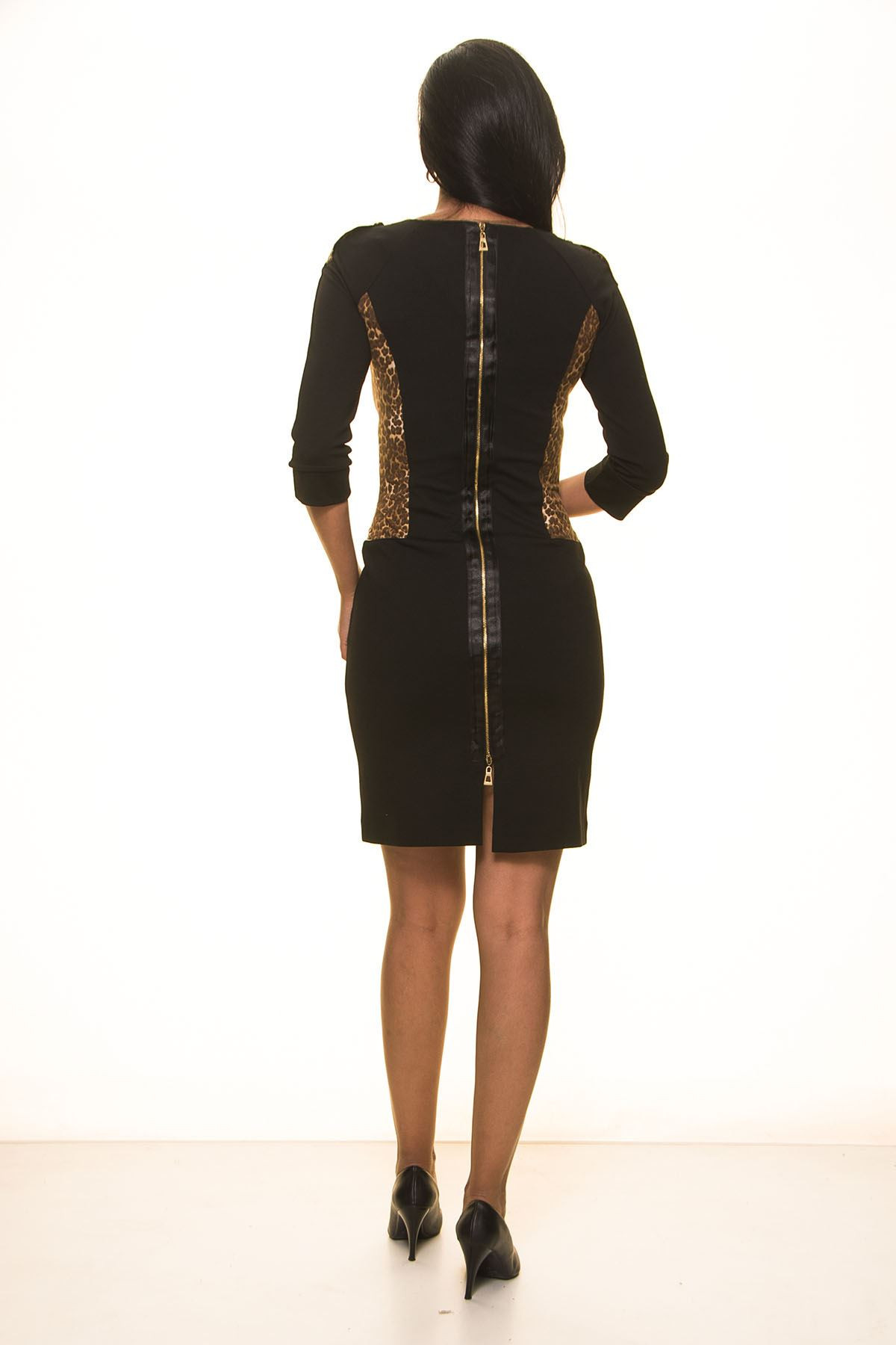Siyah Leoparlı Elbise K7-2032