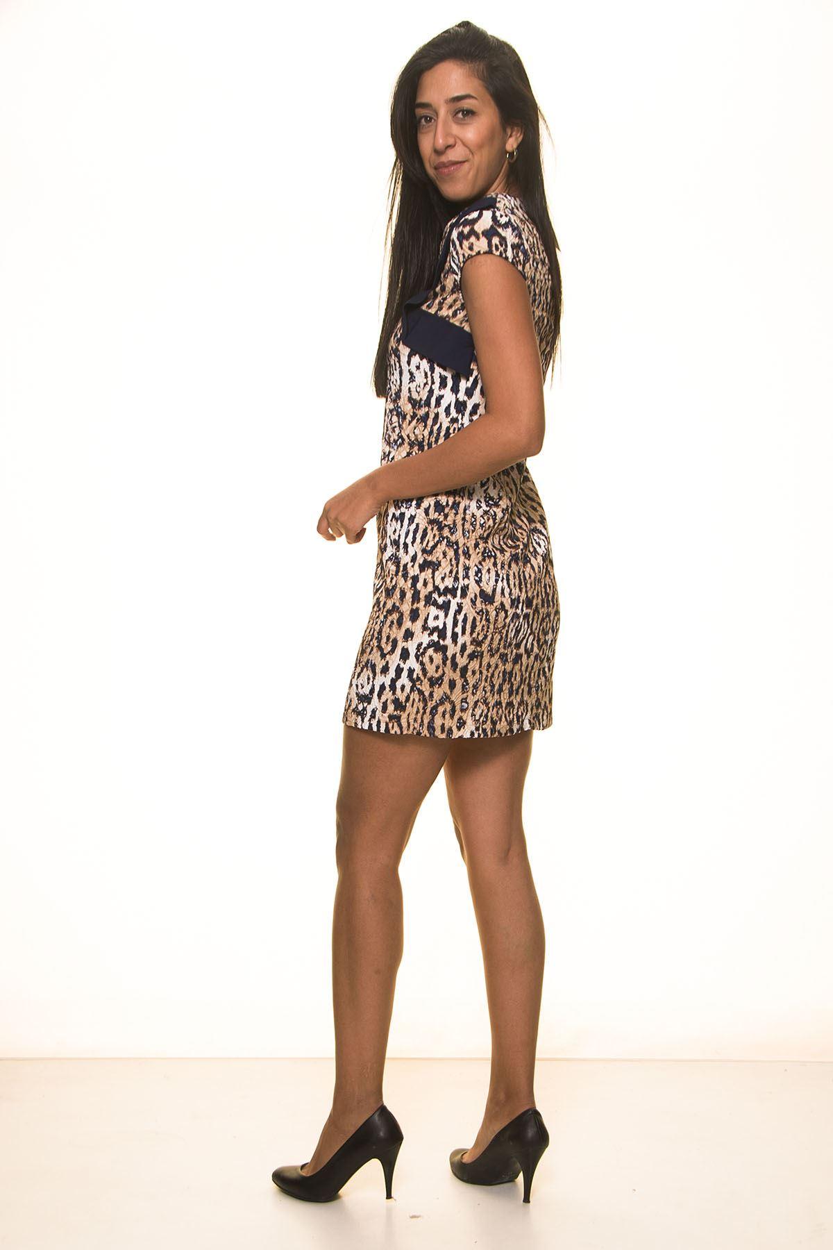 Lacivert Leoparlı Elbise K7-2033