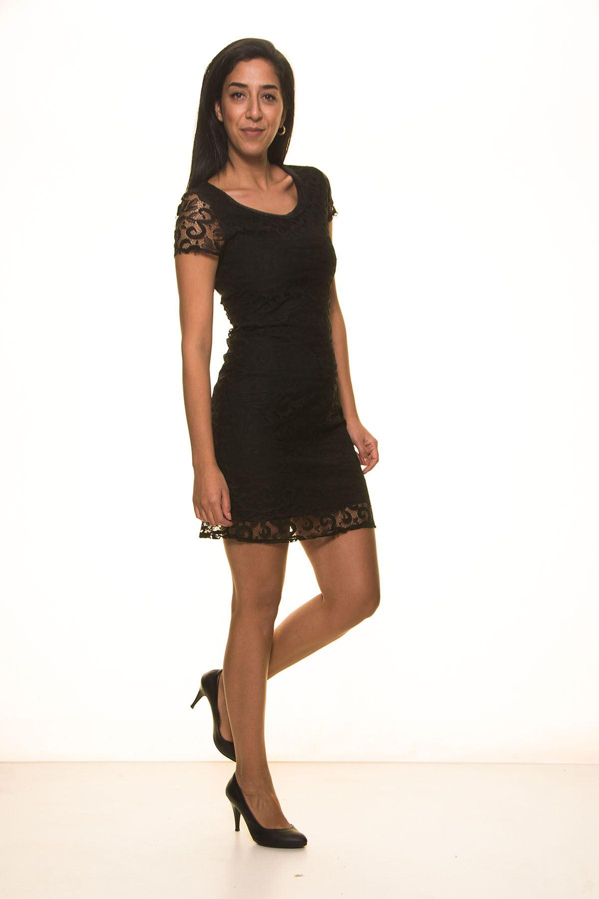 Siyah Kısa Dantel elbise K7-2034