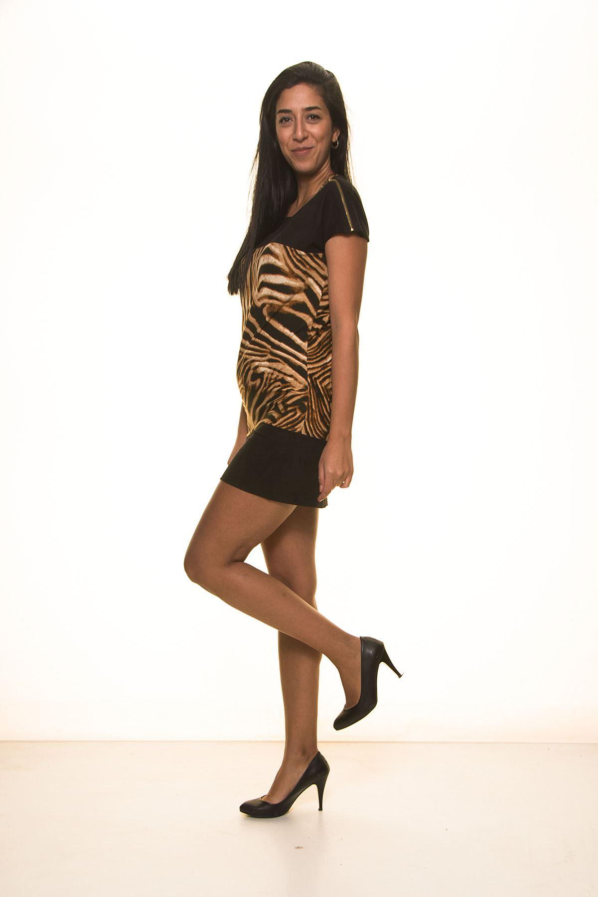 Siyah Süet Leoparlı Elbise K7-2035
