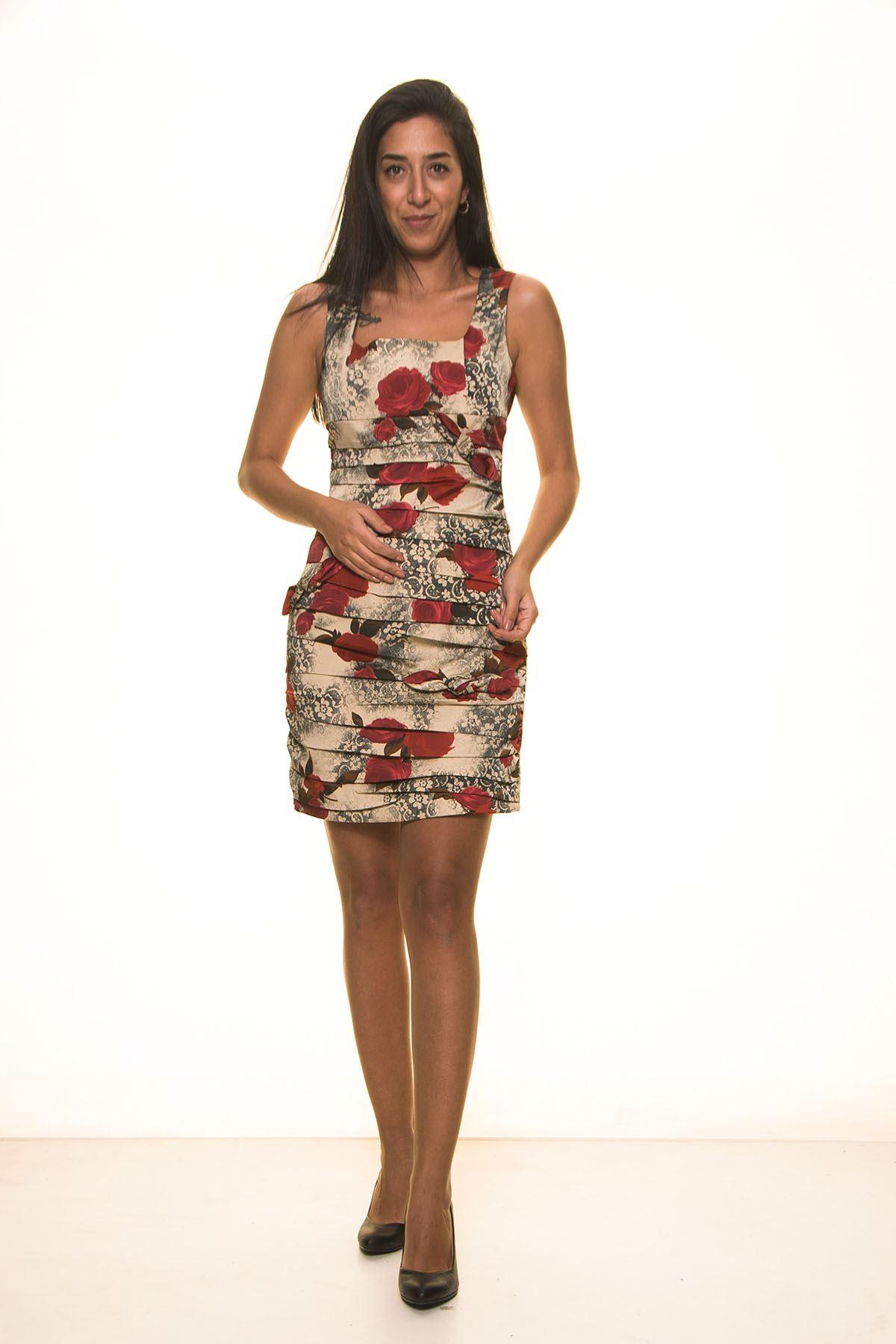 Gül Desenli Elbise K7-2037K