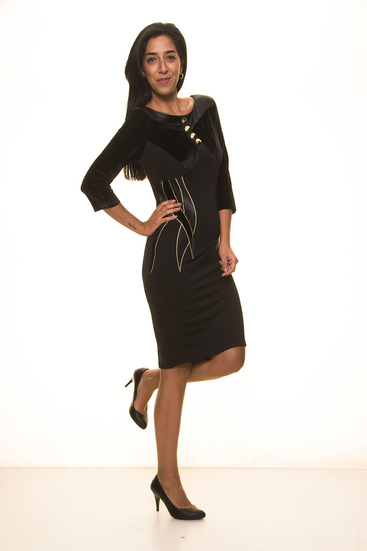 Siyah Kışlık Elbise K7-2038