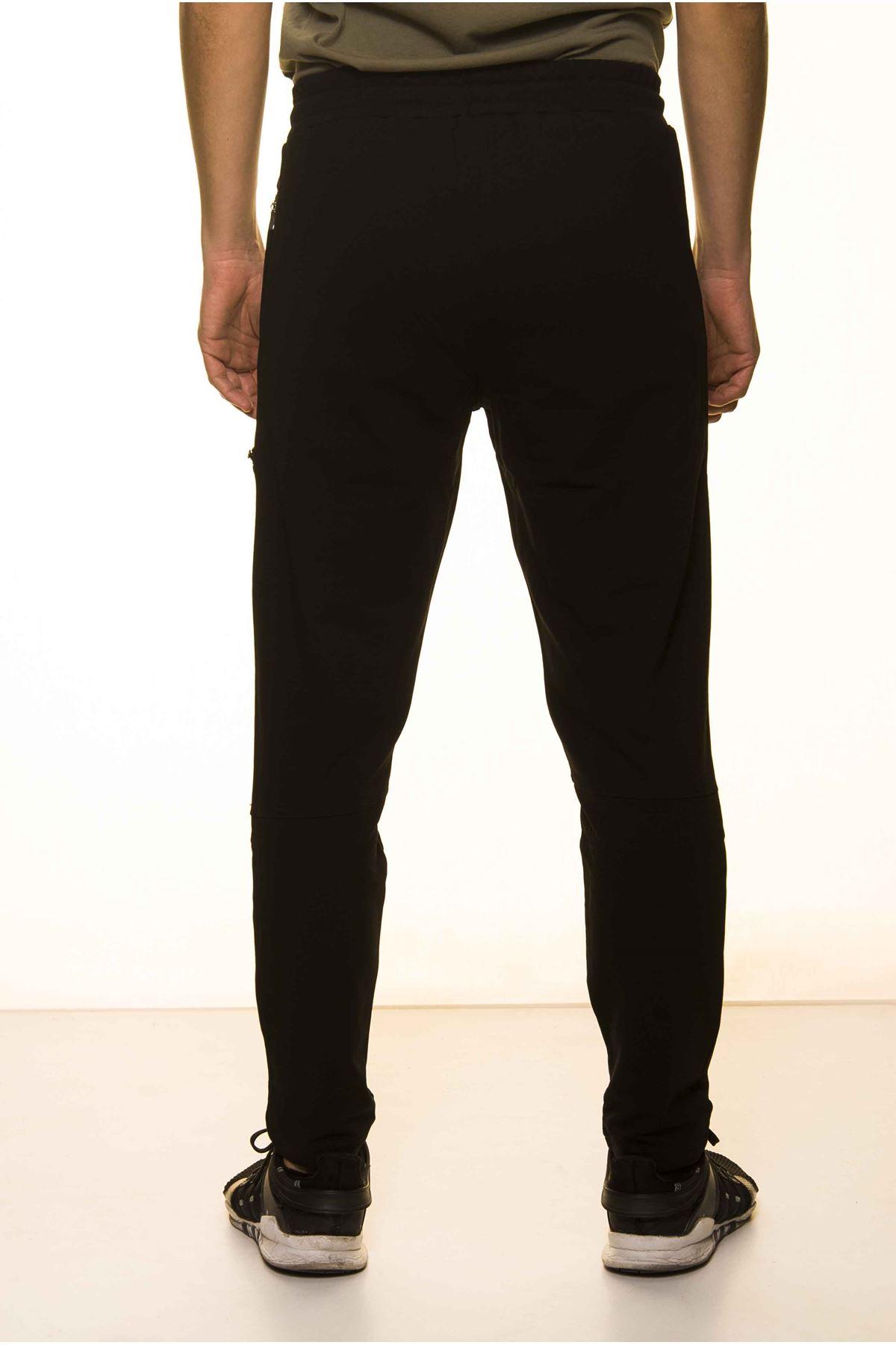 Siyah Fermuar Detaylı Tarz Erkek Eşofman Altı 11C-1117