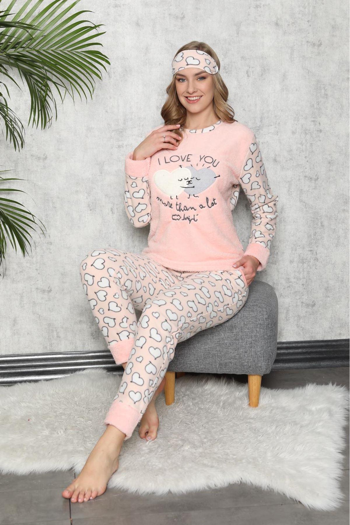 Somon Rengi Kışlık Welsoft Polar Pijama 8C-9113