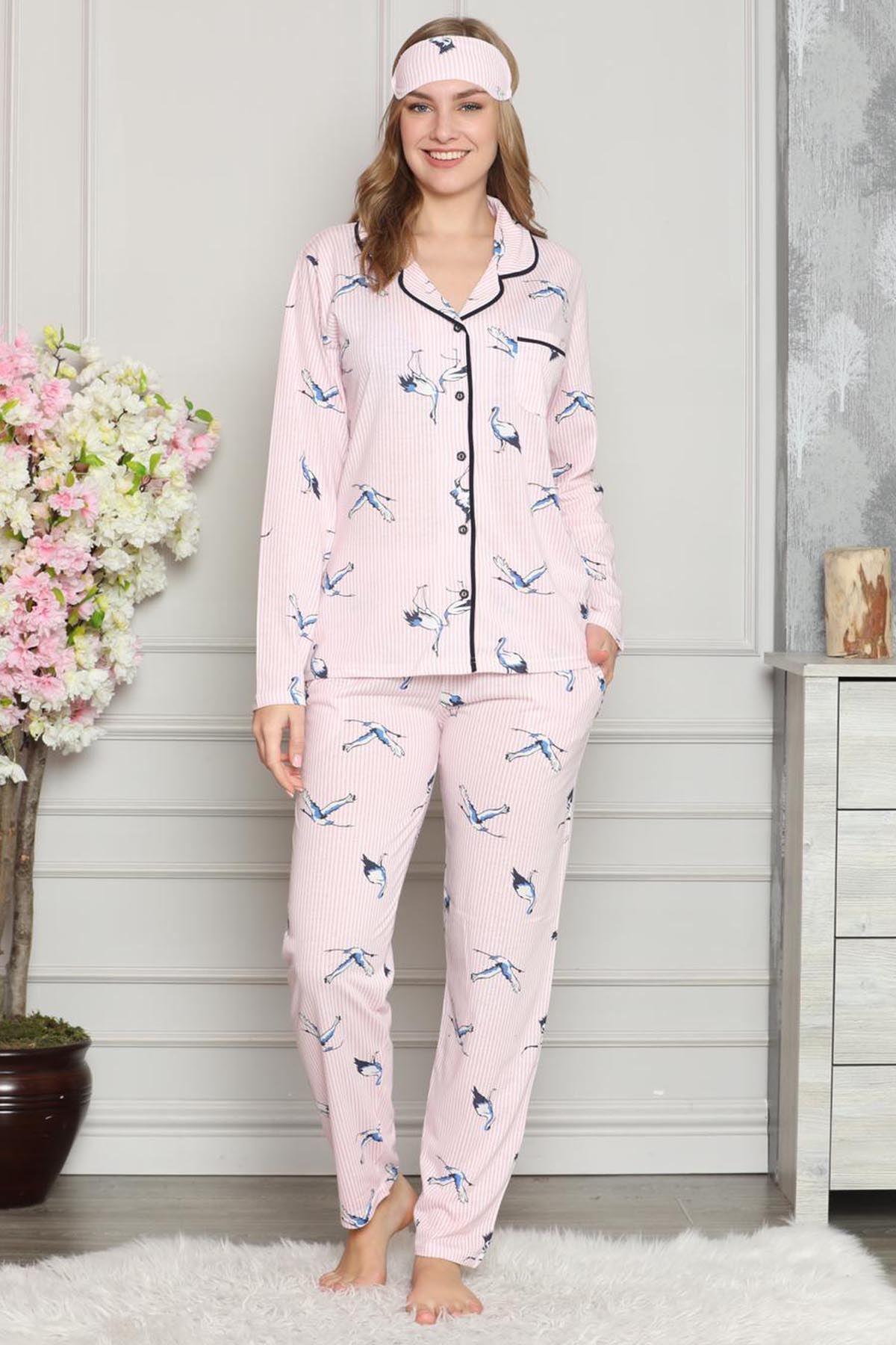 Pembe Beyaz Düğmeli Penye Pijama Takımı 8C-20508P