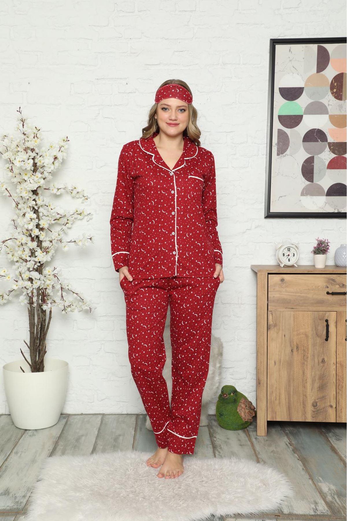 Kadın Bordo Pamuk Dokuma Uzun Kollu Düğmeli Pijama Takımı 8D-2501