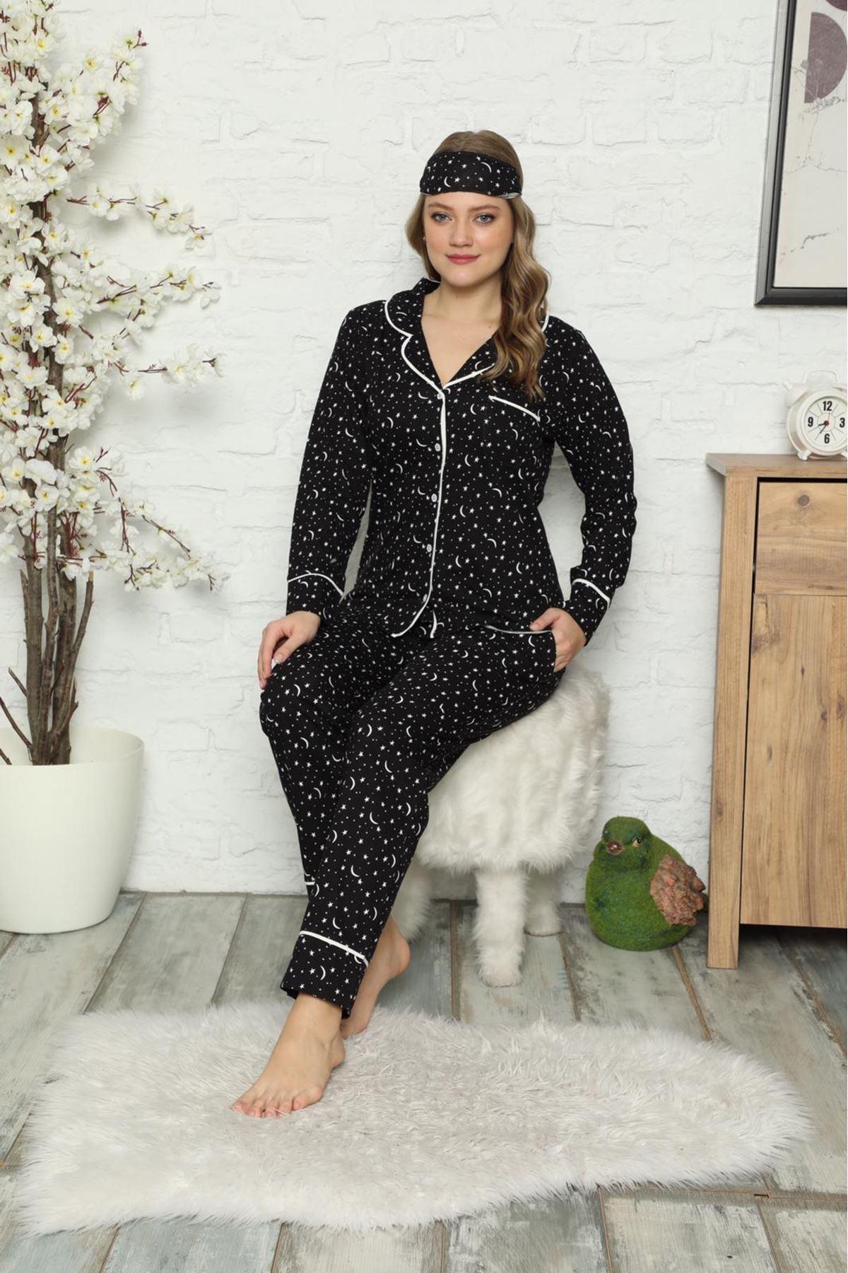 Kadın Siyah Pamuk Dokuma Uzun Kollu Pijama Takımı 8D-2501S