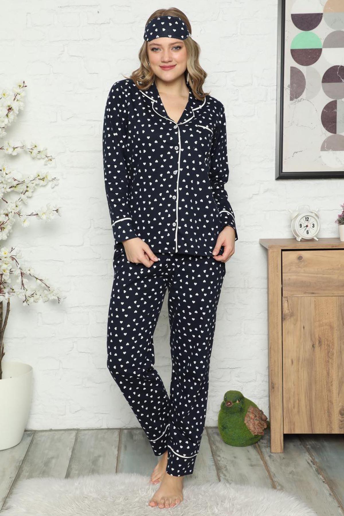 Kadın Lacivert Pamuk Dokuma Uzun Kollu Pijama Takımı 8D-2500