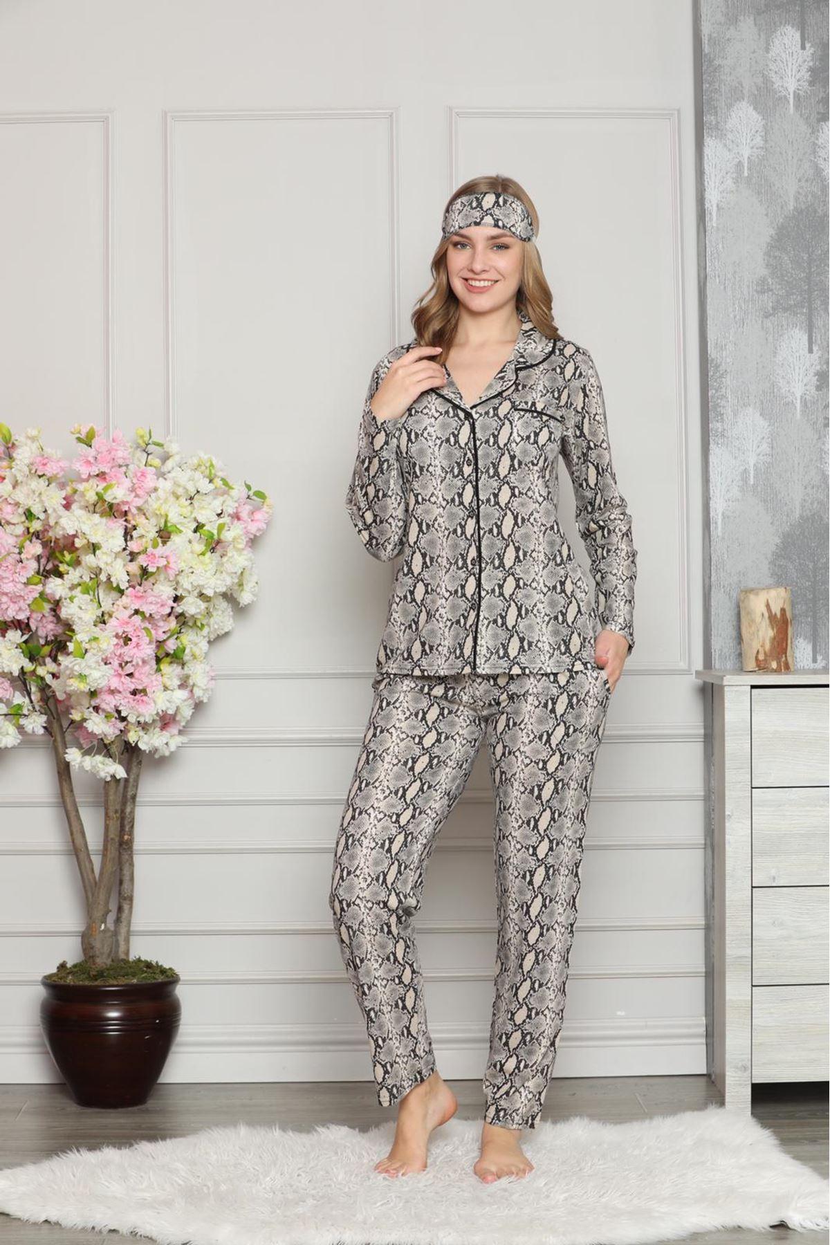 Kadın Yılan Derisi Desenli Pamuk Dokuma Uzun Kollu Pijama Takımı 8D-20506