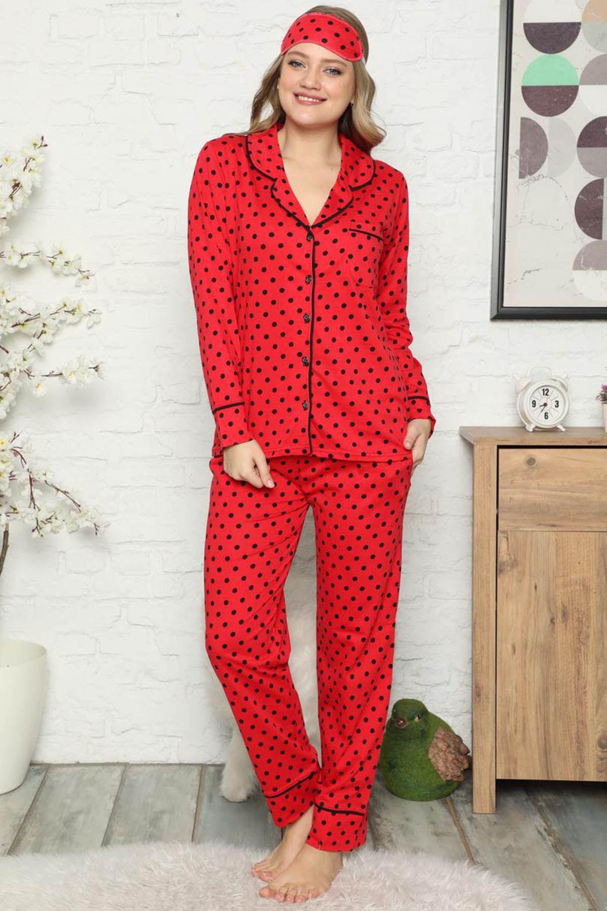 Kırmızı Puantiyeli Pamuk Dokuma Uzun Kollu Pijama Takımı 8D-2503