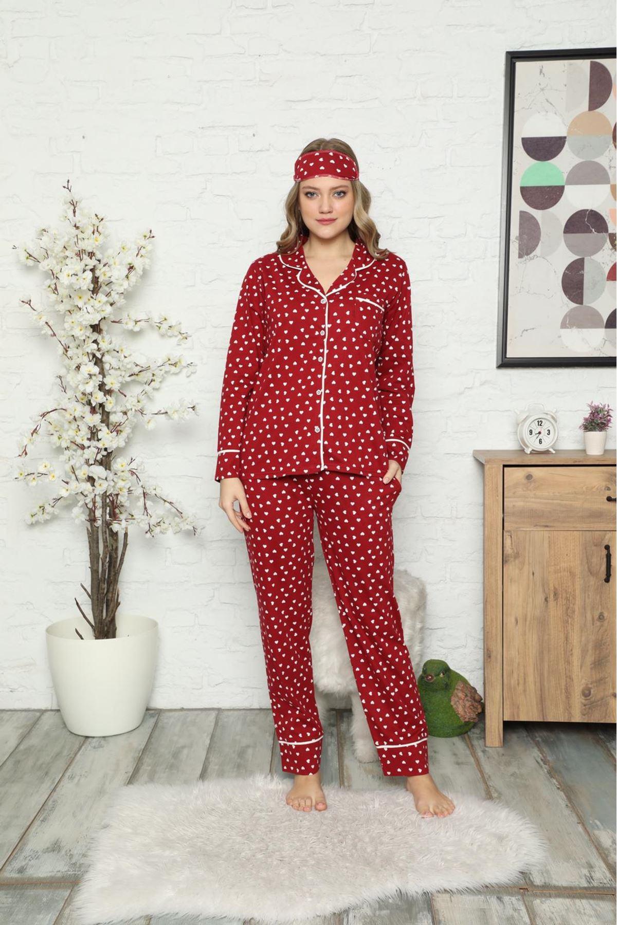 Bordo Kadın Pamuk Dokuma Uzun Kollu Pijama Takımı 8D-2500B