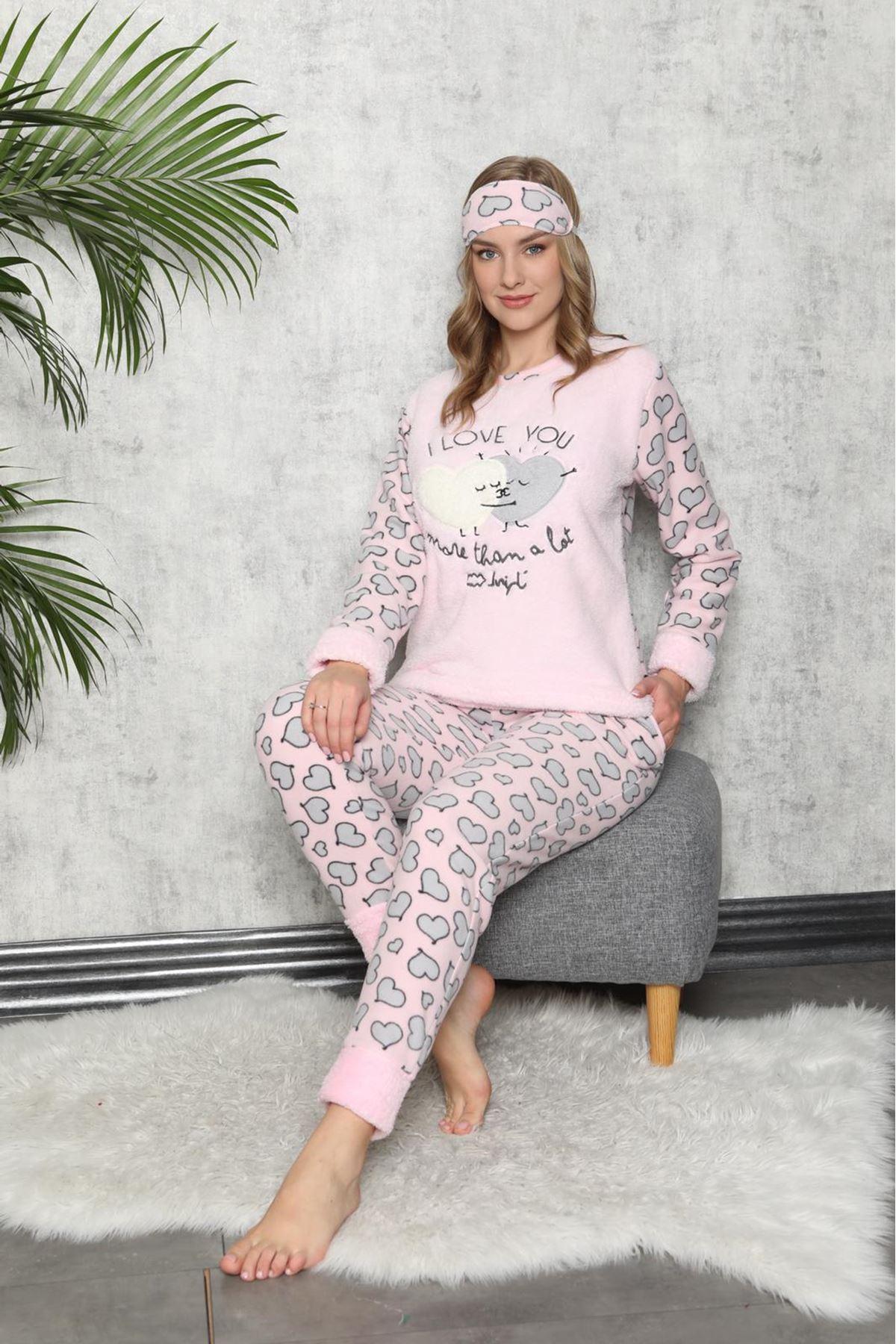 Pudra Rengi Kışlık Welsoft Polar Pijama 8C-9113P