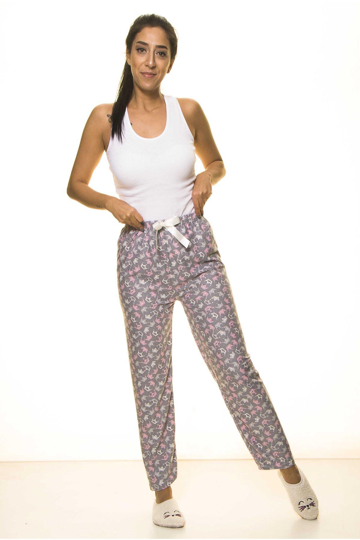 Gri Yumuşak Penye Ev Pijama Altı 9D-2057