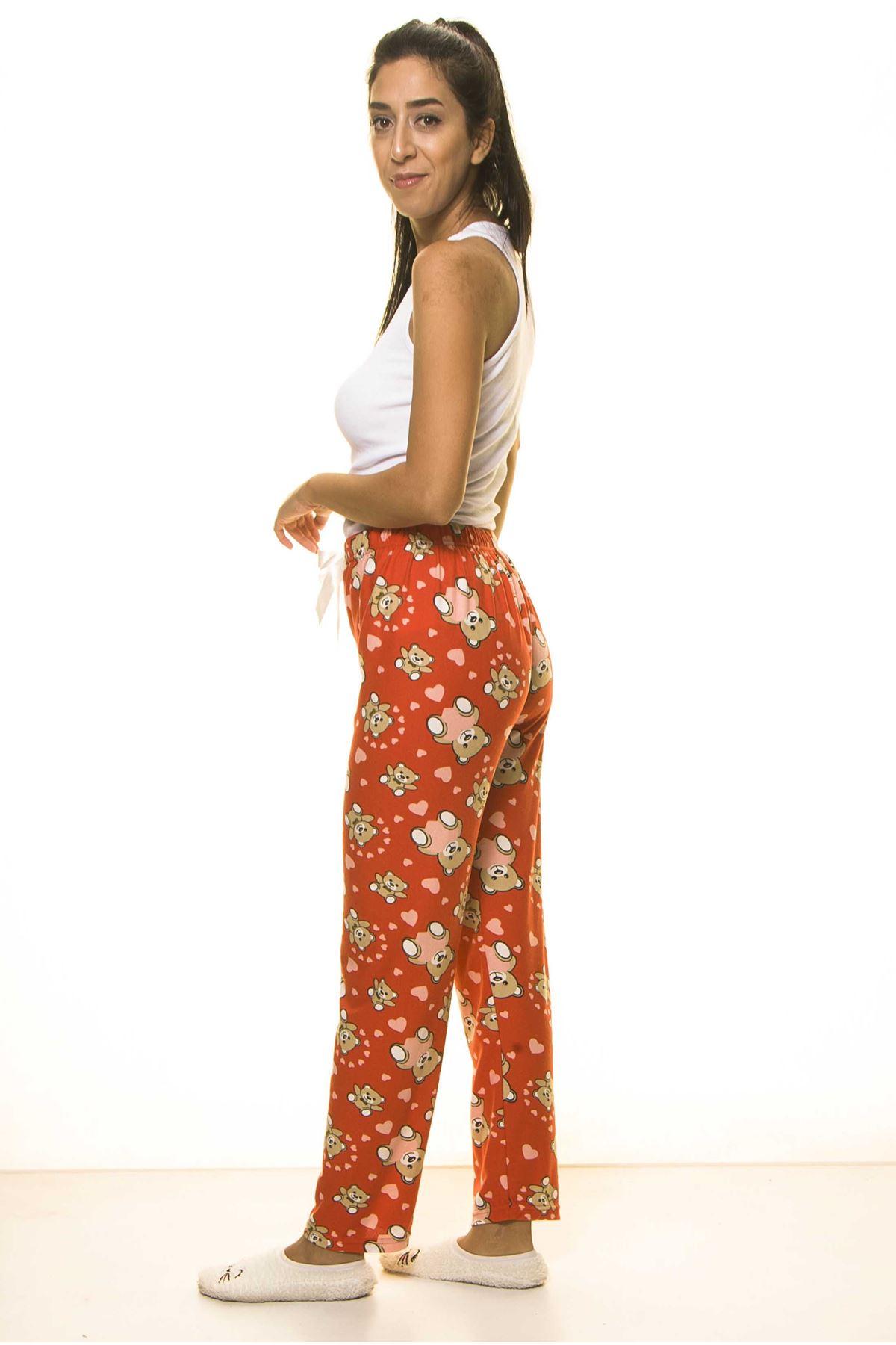 Kırmızı Sevimli Yumuşak Süet Penye Ev Pijama Altı 9D-2058