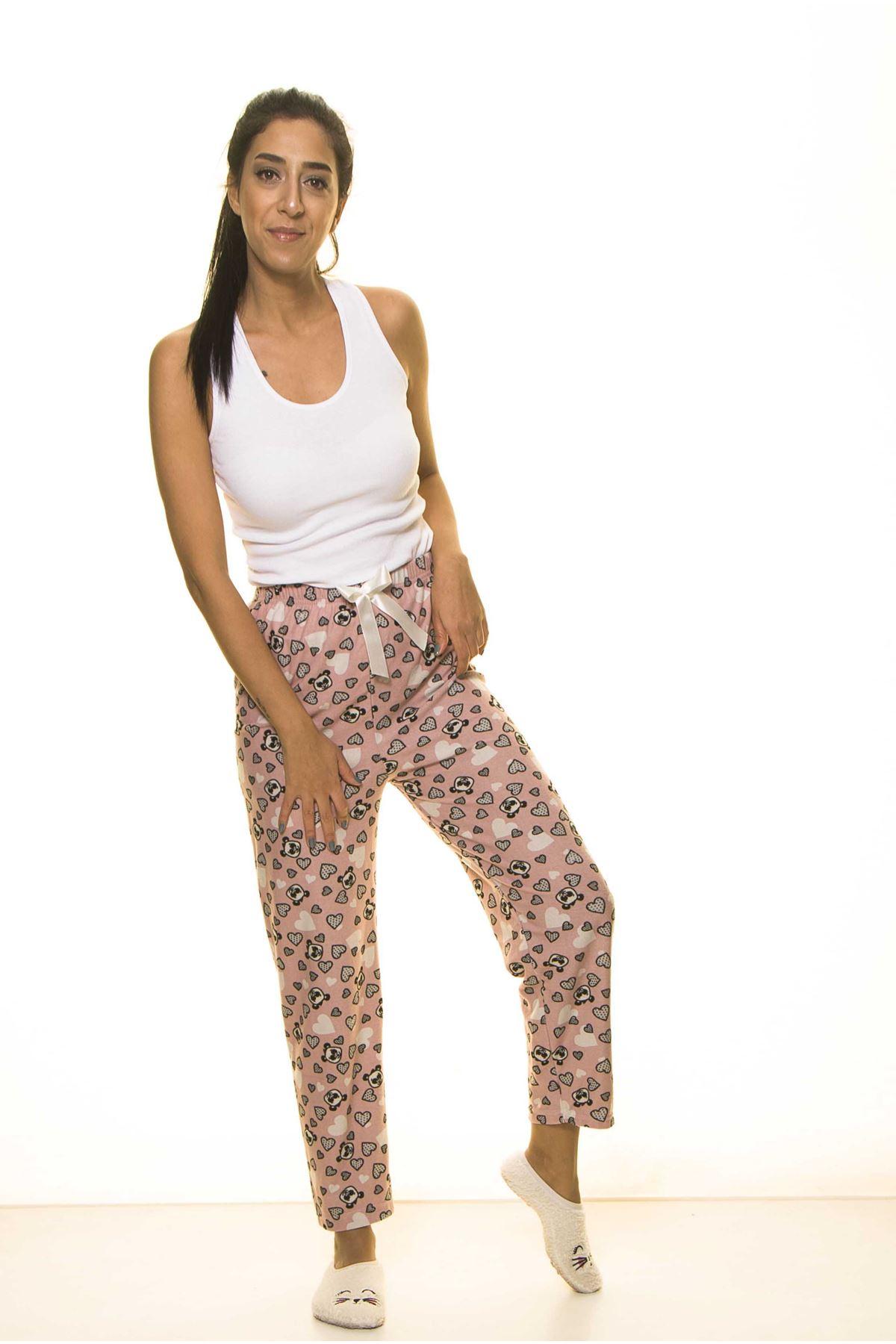 Pembe Sevimli Yumuşak Süet Penye Ev Pijama Altı 9C-2059P