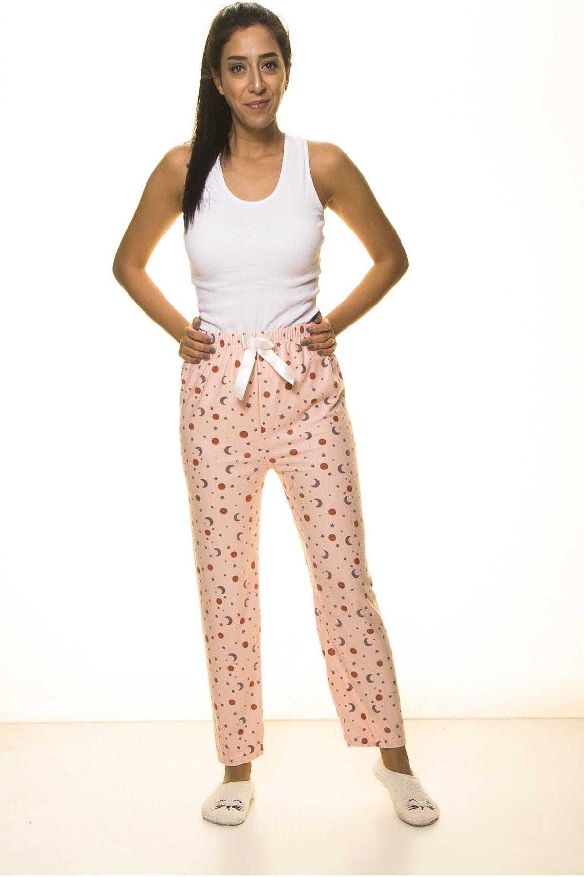 Pembe YumuşakSüet Penye Ev Pijama Altı 9C-2053