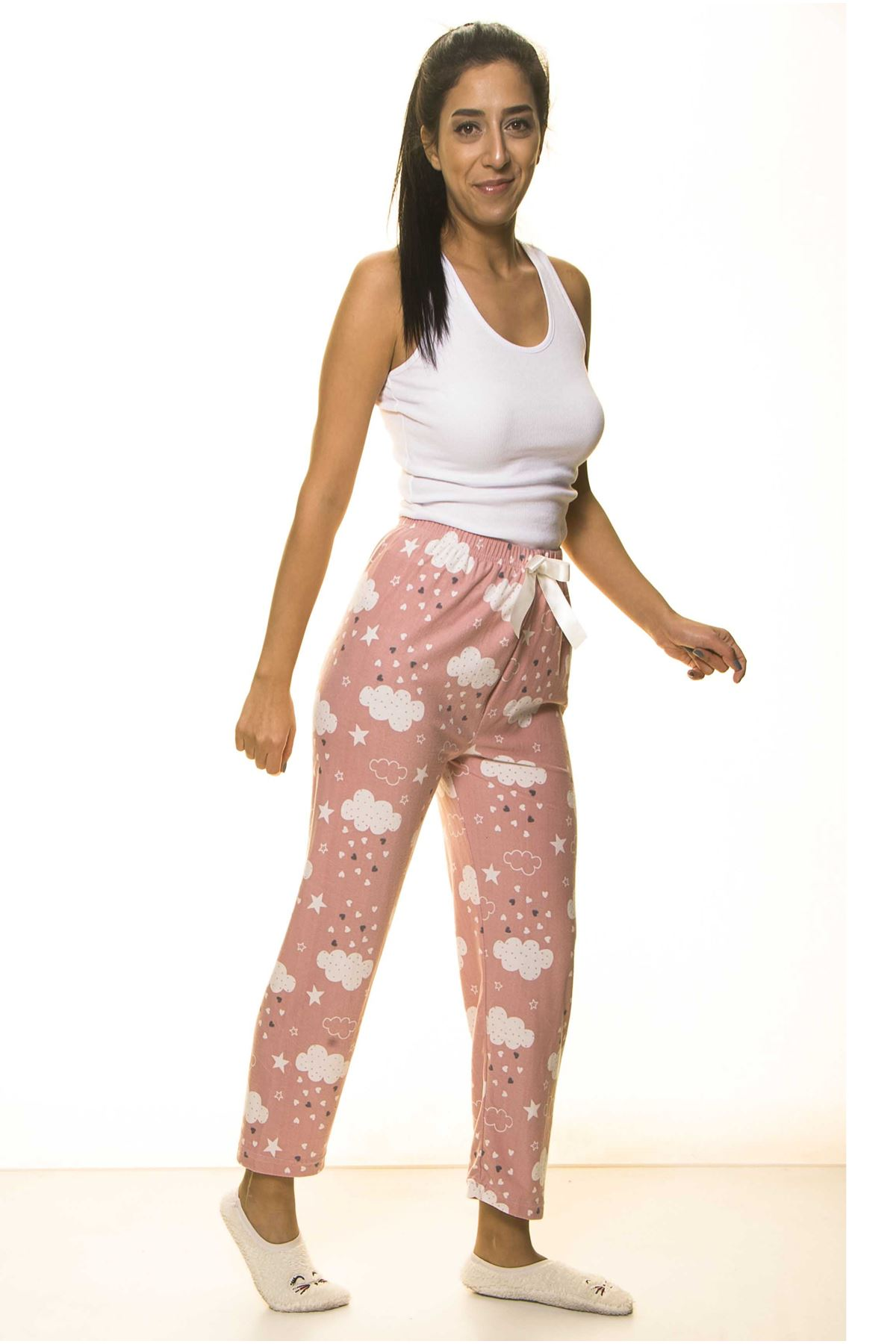 Pudra Yumuşak Süet Penye Ev Pijama Altı 9D-2060