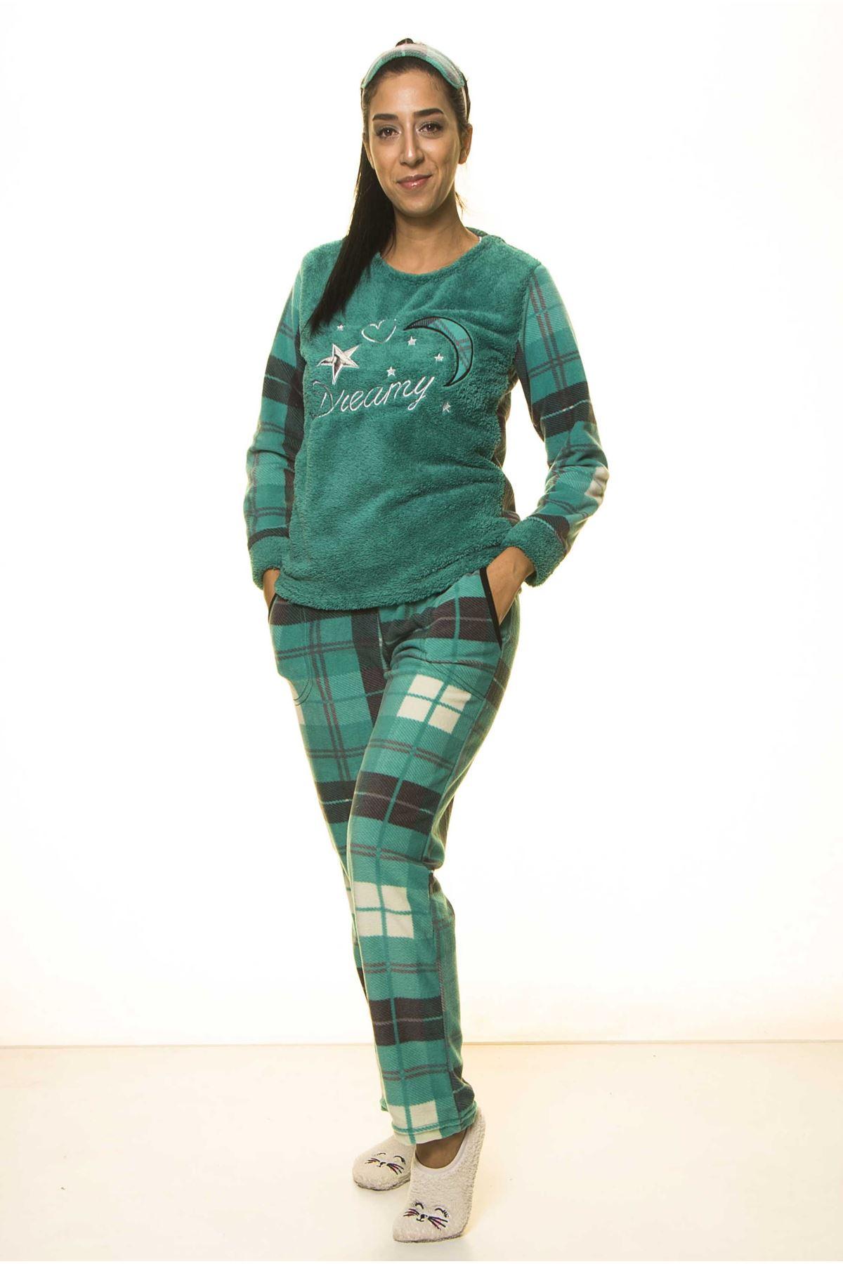 Zümrüt Yeşil Kışlık Welsoft Peluş Pijama 8D-1163Y