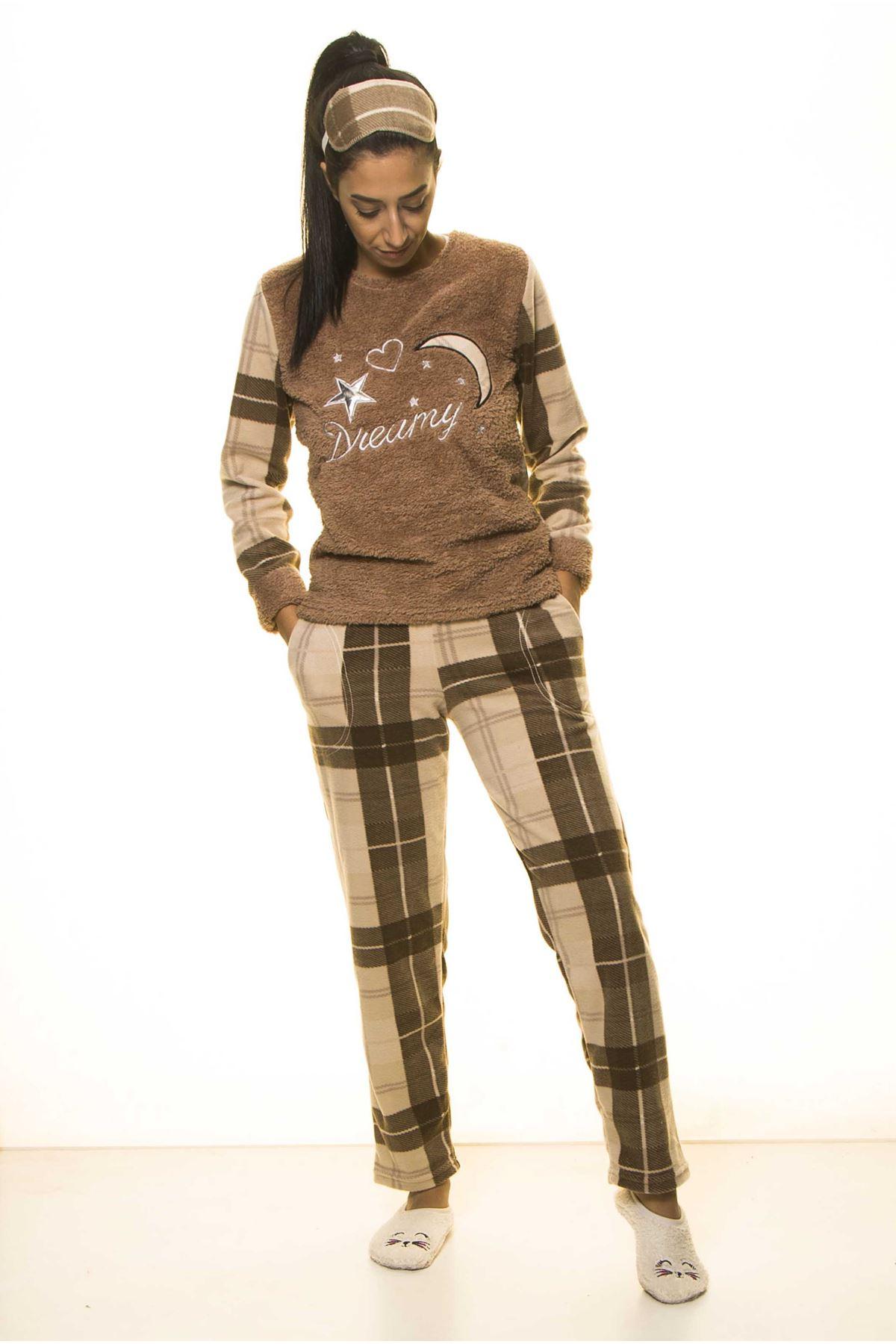 Kahverengi Ekoseli Kışlık Welsoft Peluş Pijama 8D-1163-1