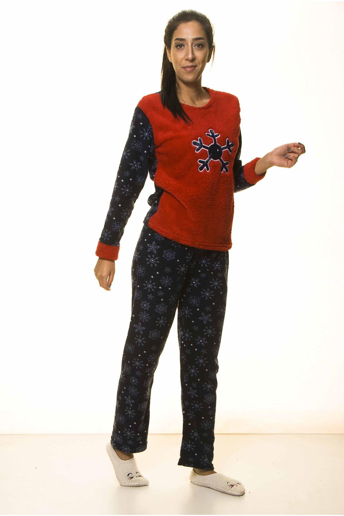 Lacivert Kırmızı Kışlık Welsoft Peluş Pijama 2C-2044