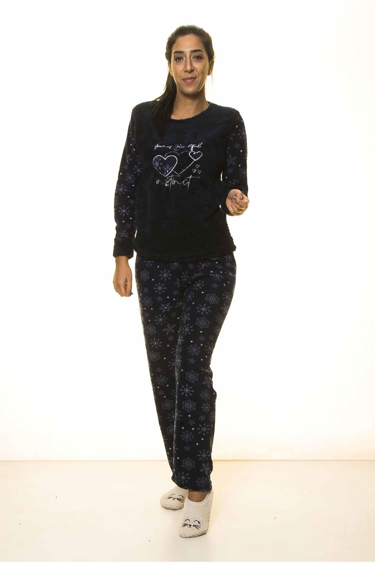 Lacivert Kışlık Kar Tanesi Welsoft Peluş Pijama 2C-2045
