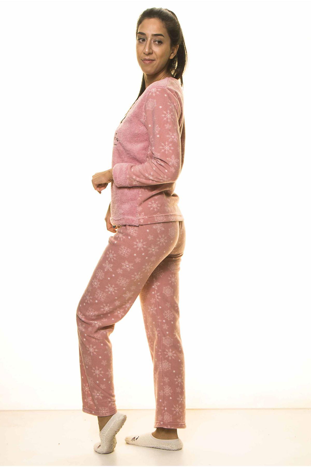 Pembe Kışlık Kar Tanesi Welsoft Peluş Pijama 2C-2046