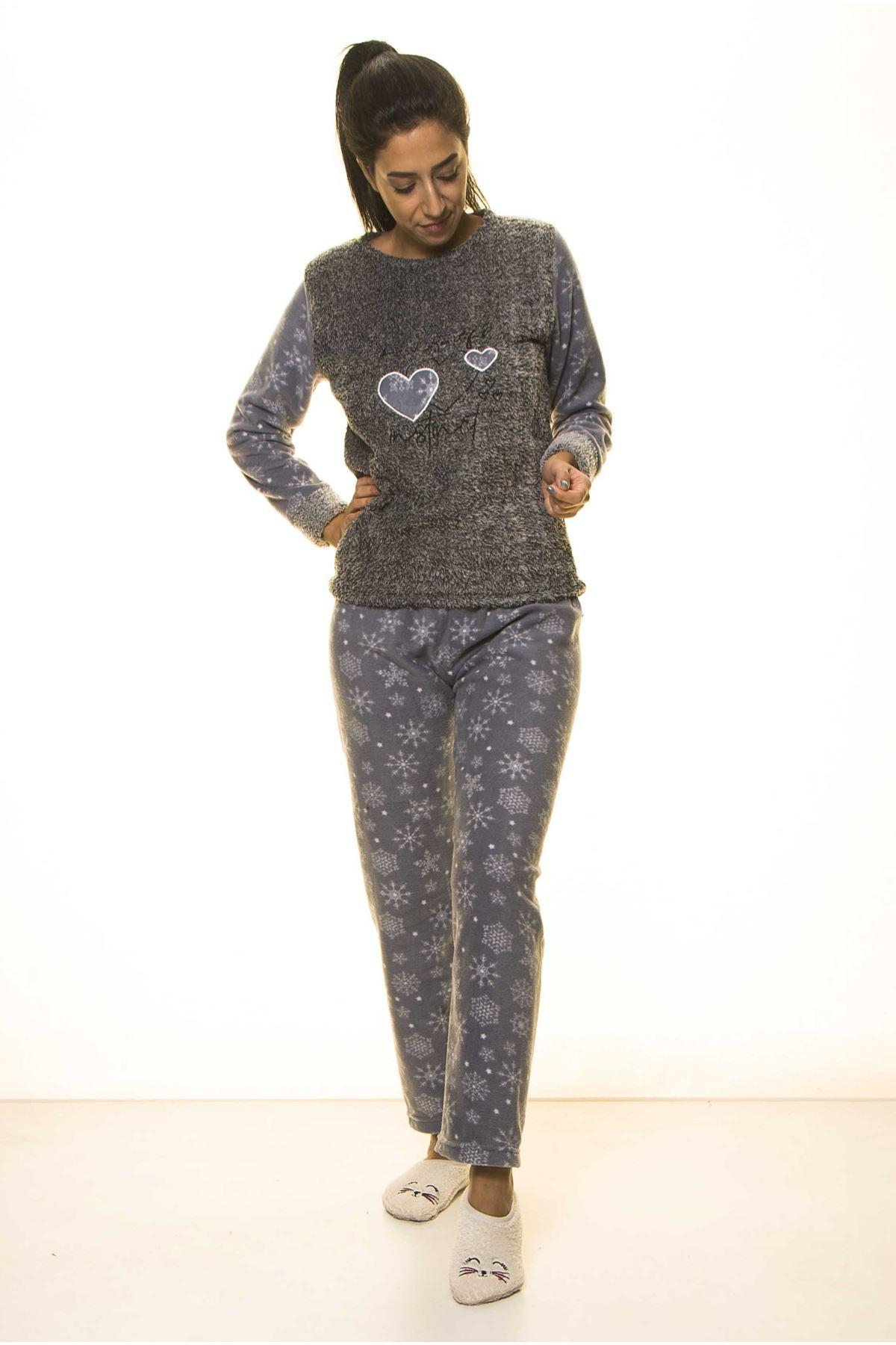 Antrasit Kışlık Kar Tanesi Welsoft Peluş Pijama 2C-2047