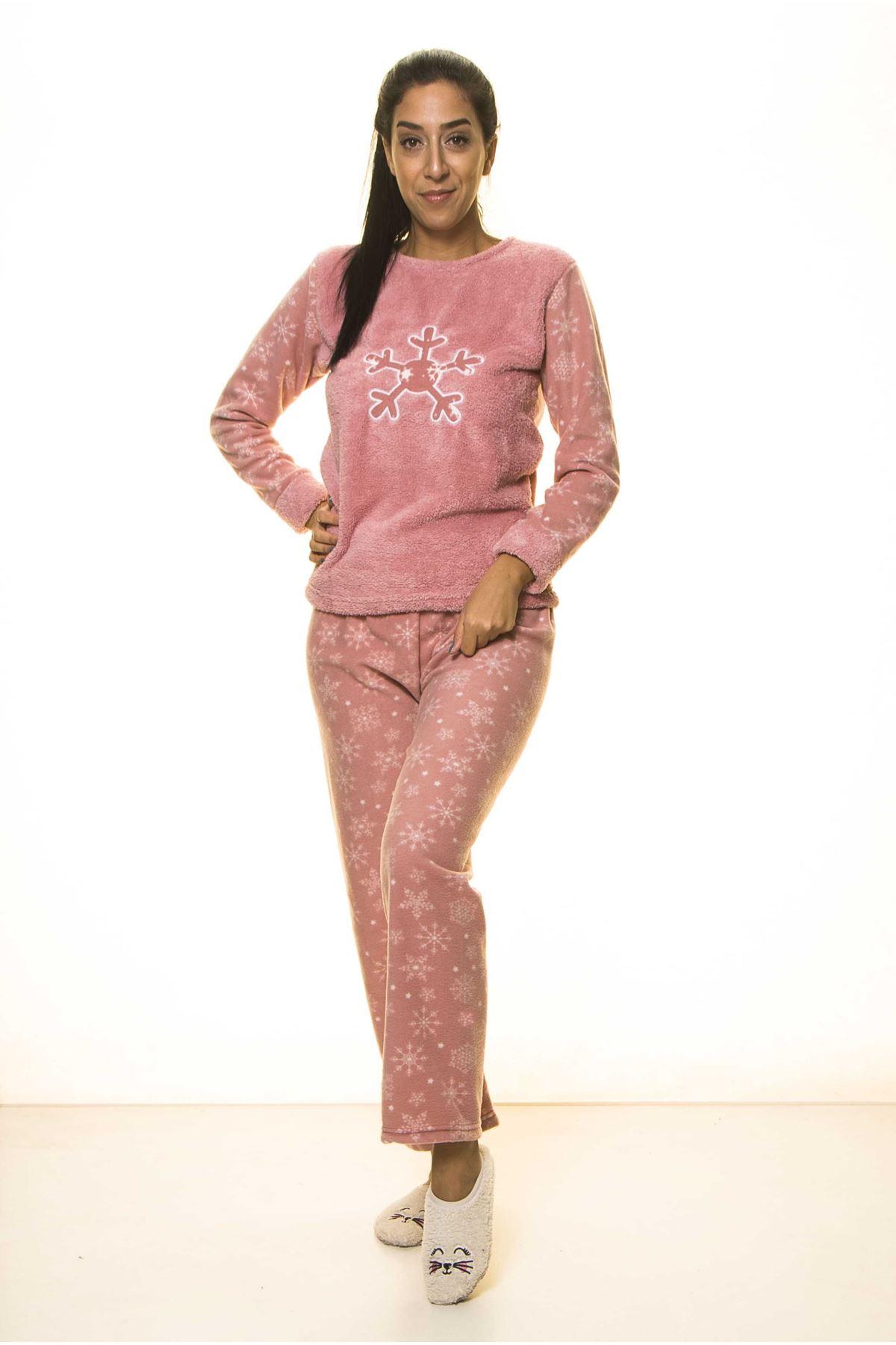 Pembe Kışlık Kar Tanesi Welsoft Peluş Pijama 2C-2048