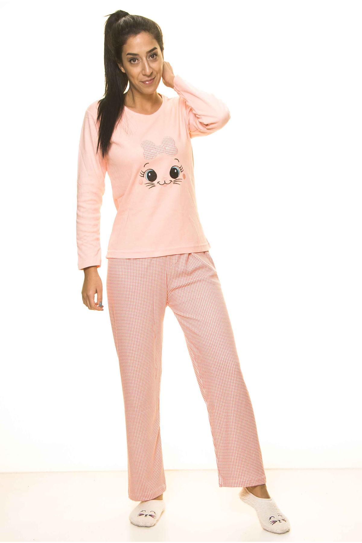 Somon Rengi Uzun Kol Pijama Takım 1C-2057