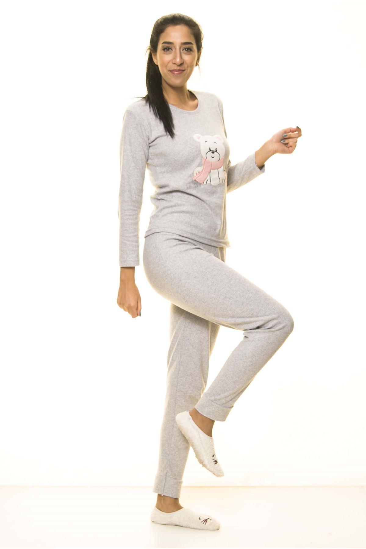 Gri Uzun Kol Pijama Takım 9E-2064