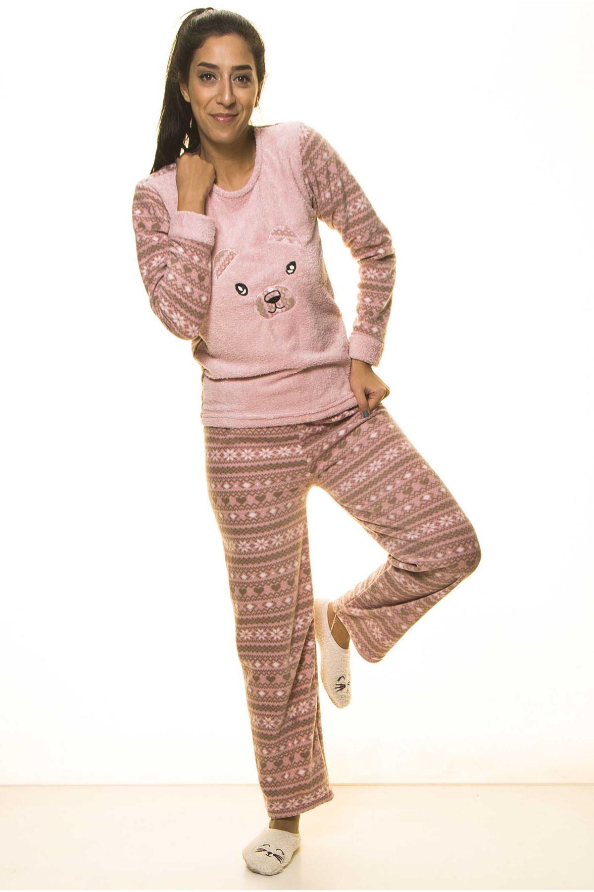 Pembe Kışlık Sevimli Welsoft Peluş Pijama 1C-2058