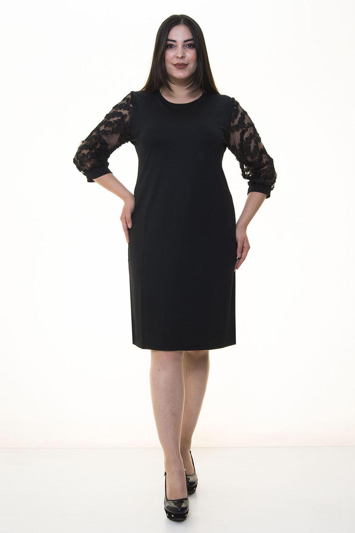 Kolları Tül Fırfır Elbise 20Y-20897