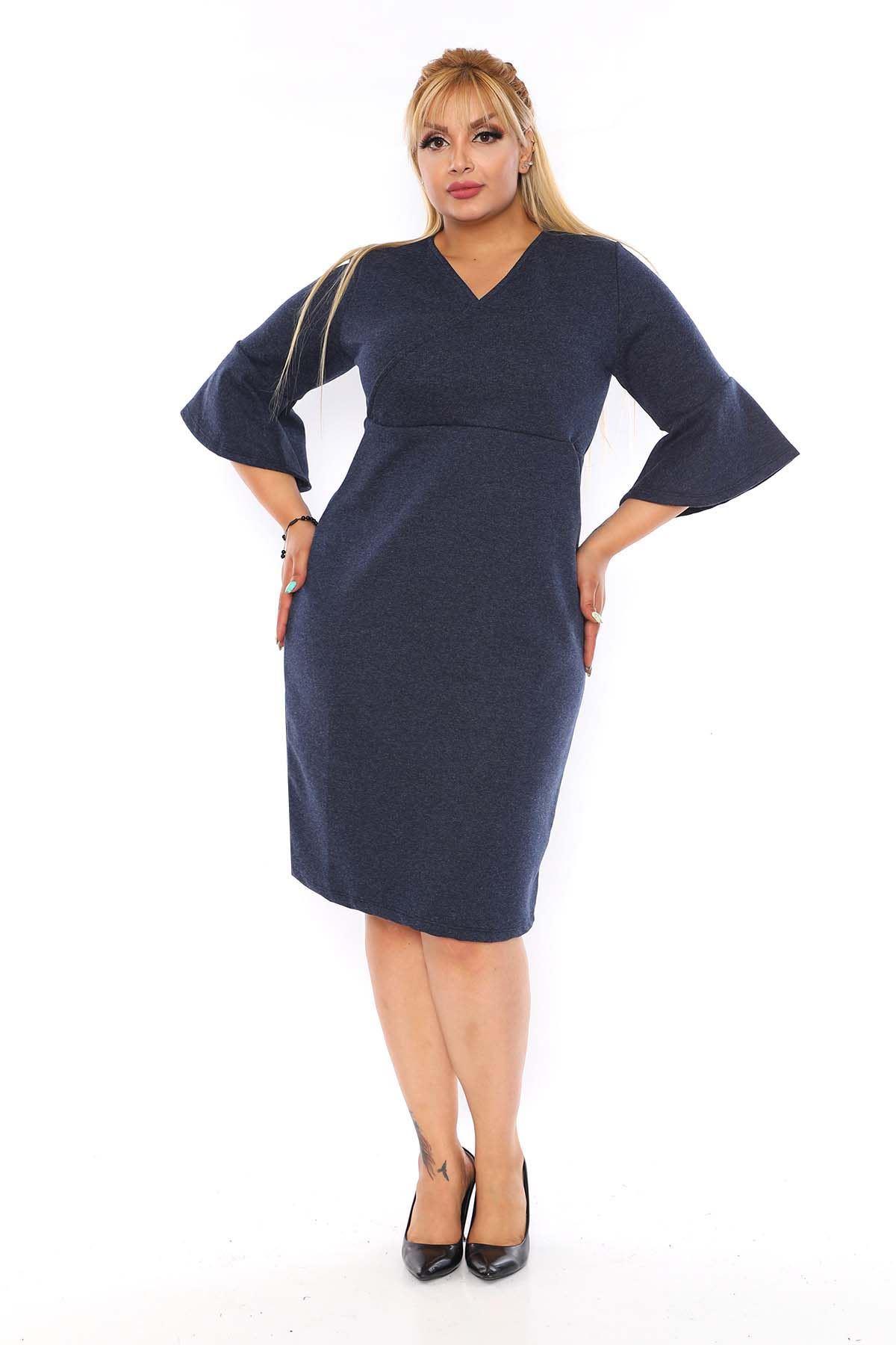 Kruvaze Yaka Lacivert Elbise 8C-0753