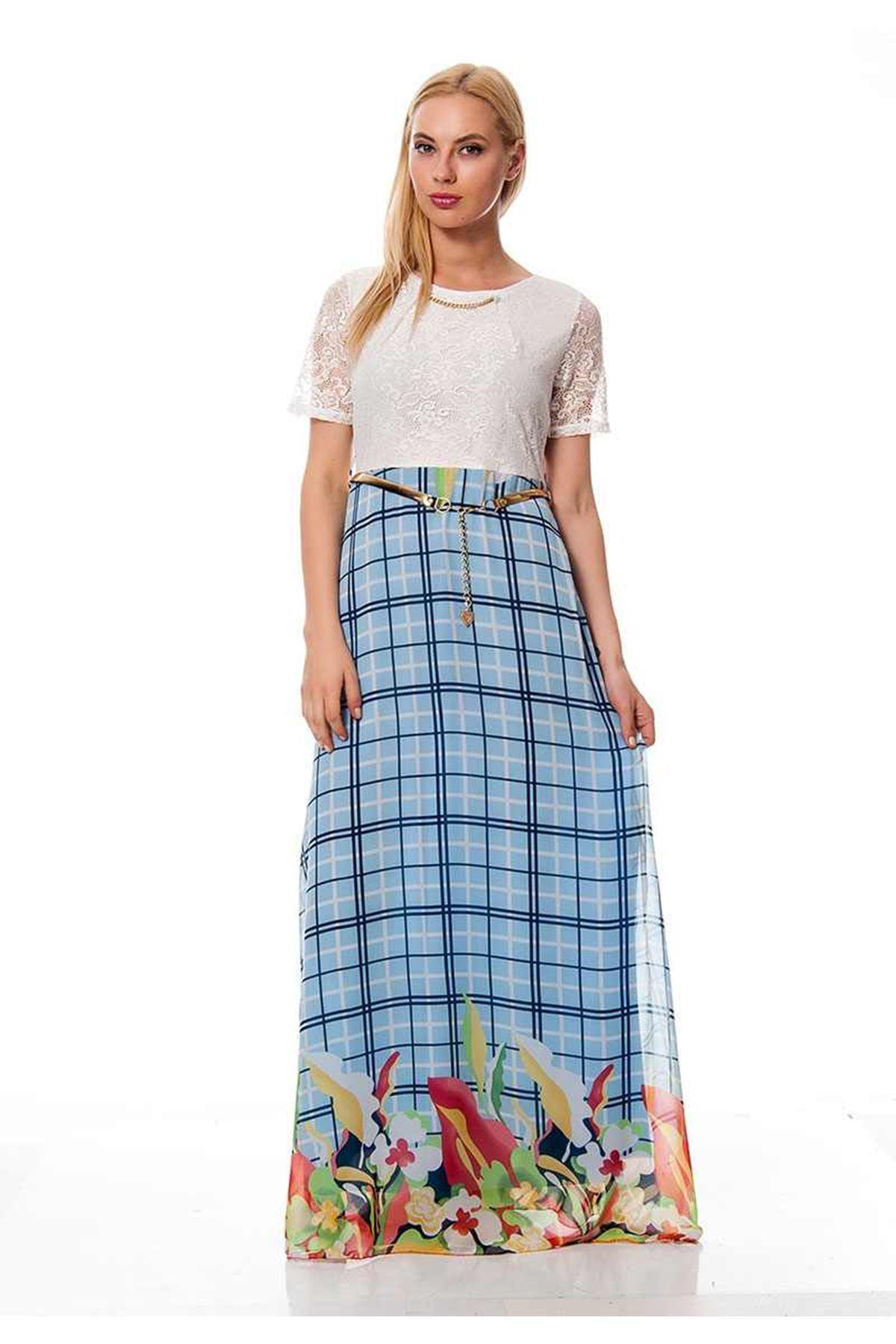 Turkuaz Desenli Kadın Elbise G8-116720