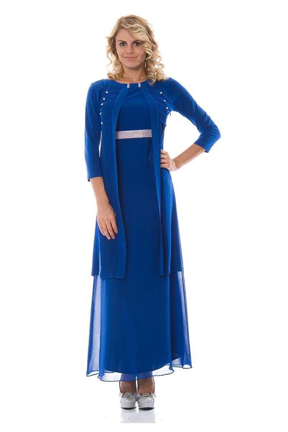 Taşlı Saks Elbise H1-89820