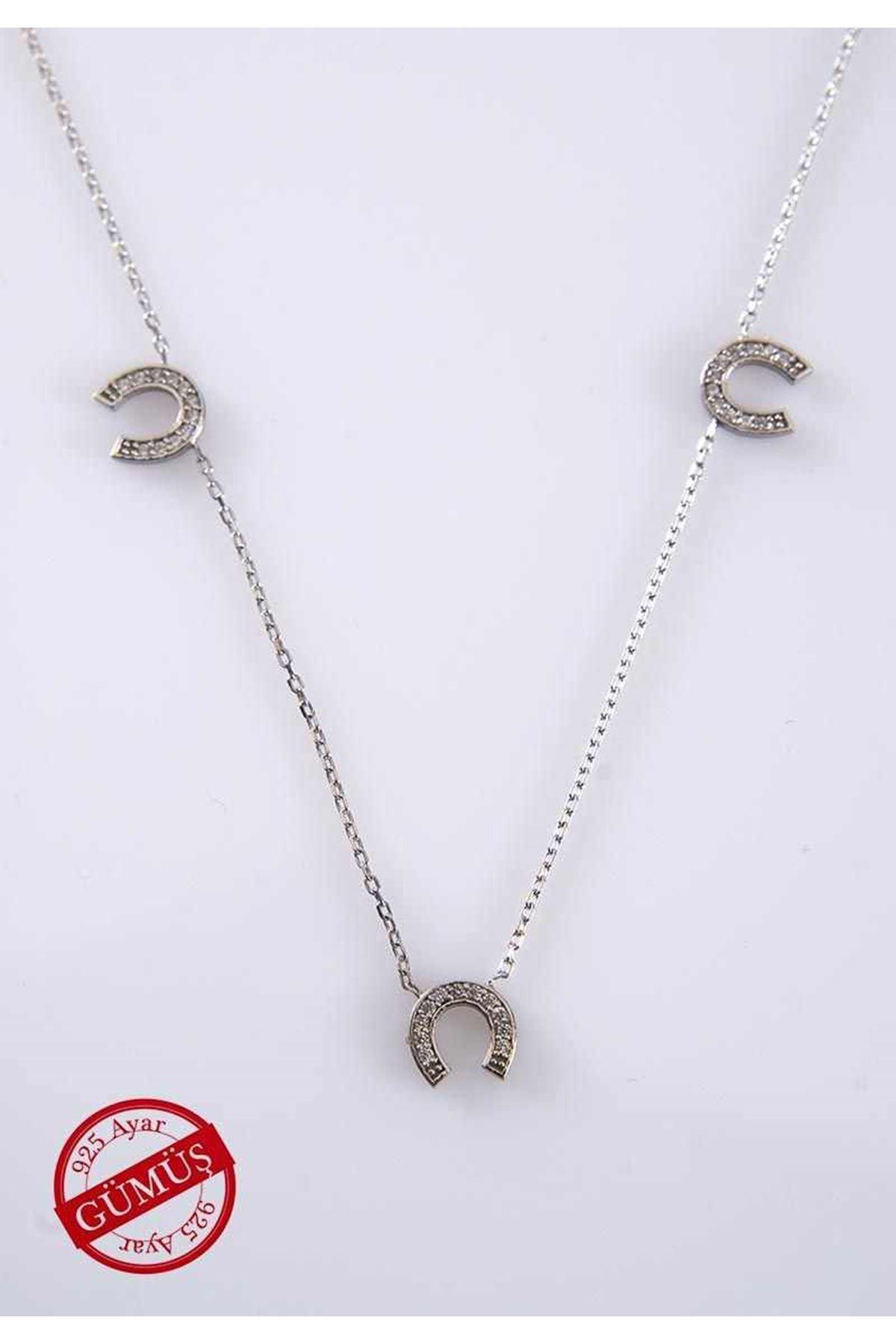 Taşlı Nal Gümüş Kolye Gk-74958