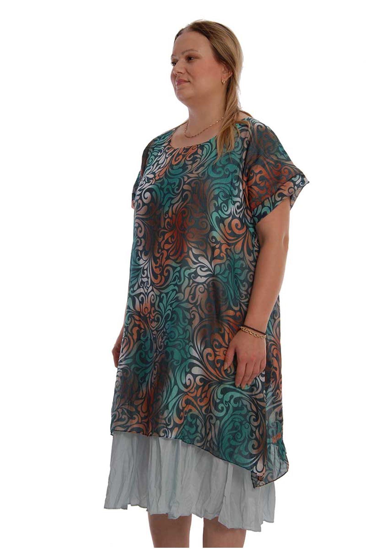 Şık Desenli Elbise 18D-67948
