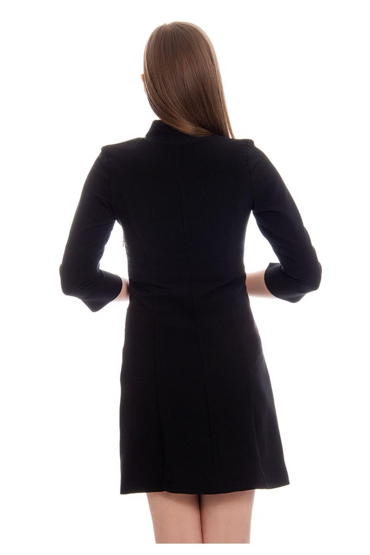 Siyah Yaka Detaylı Kadın Elbise G6-122023