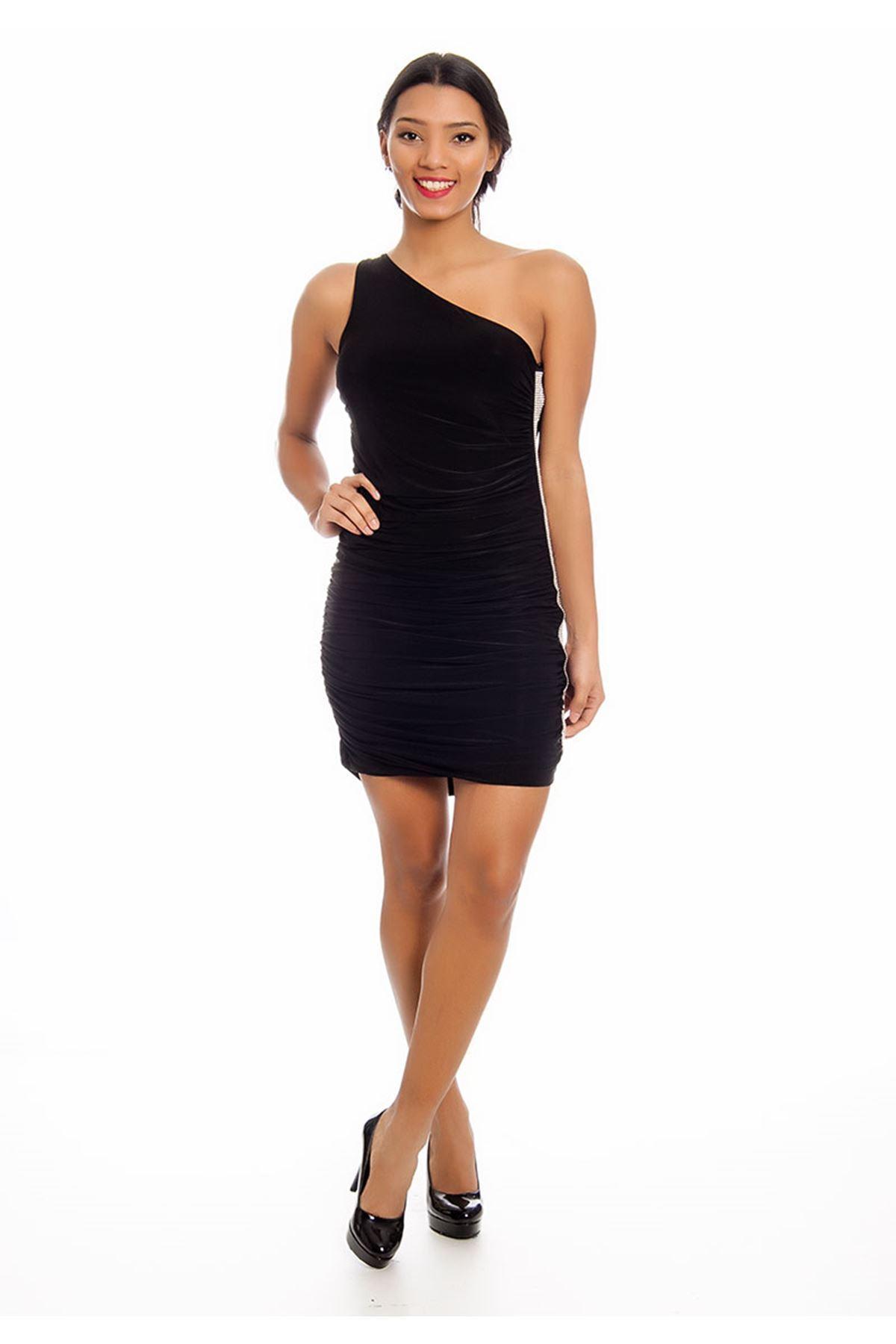 Siyah Tek Kol Taşlı Abiye Elbise G2-125589