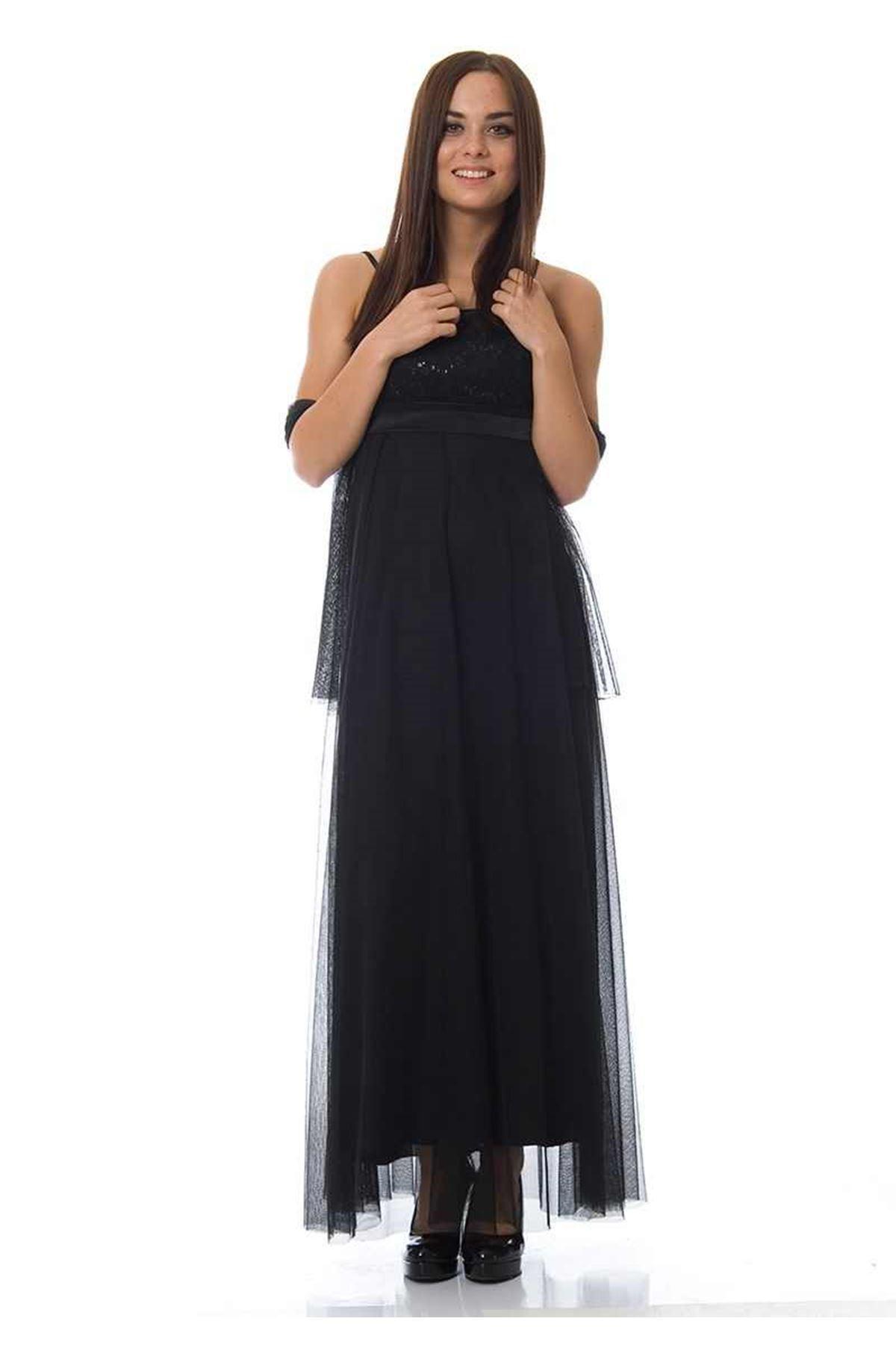 Siyah Pullu Abiye K2-116377