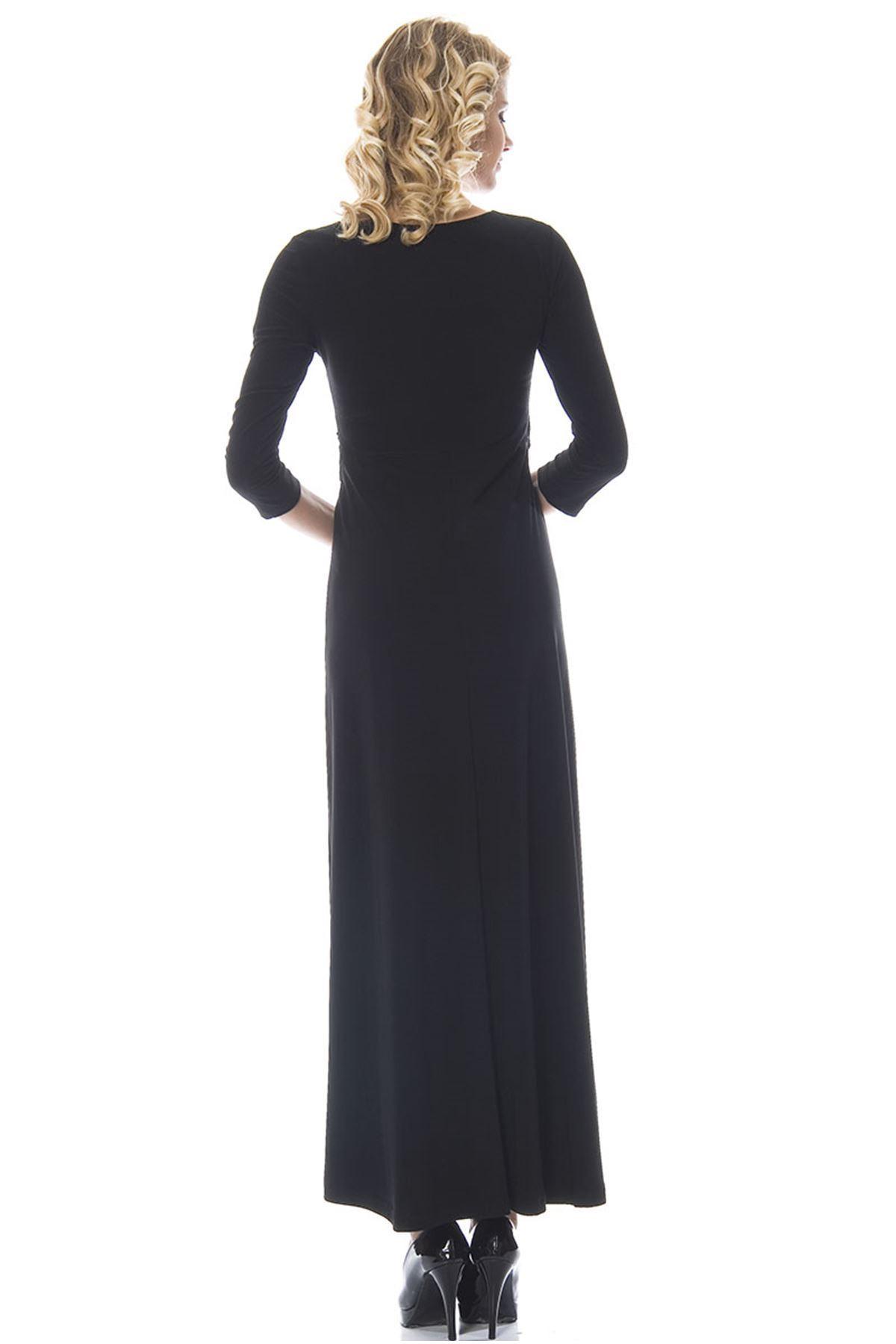 Siyah Kemerli Elbise H1-89801